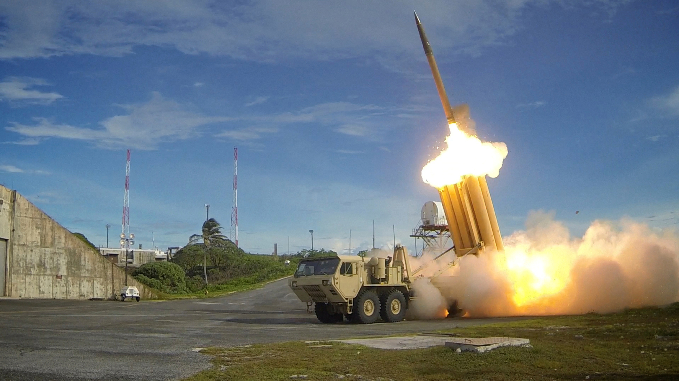 A Terminal High Altitude Area Defense (THAAD) interceptor is launched during a successful intercept test, in this undated handout photo provided by the U.S. Department of Defense's Missile Defense Agency.