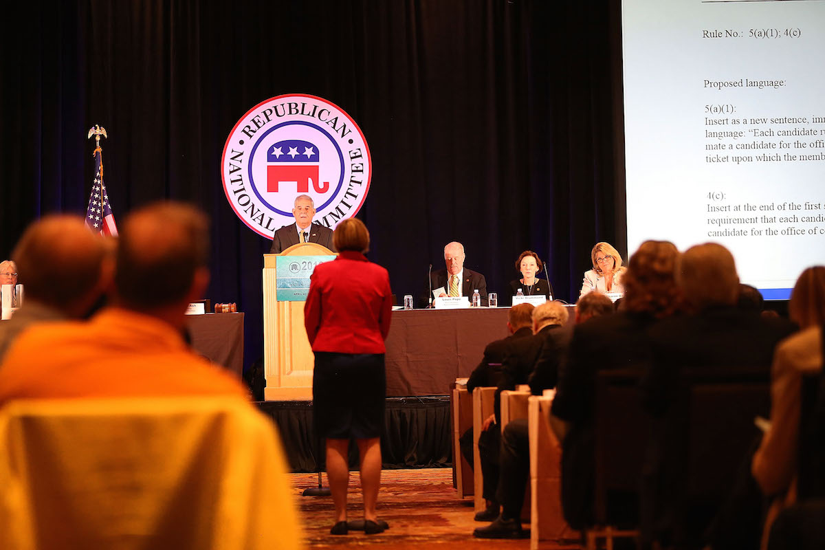 RNC Rules Committee Chairman Bruce Ash listens to a speaker during the Republican National Committee (RNC) Spring Meeting at the Diplomat Resort on April 21, 2016 in Hollywood, Fla.