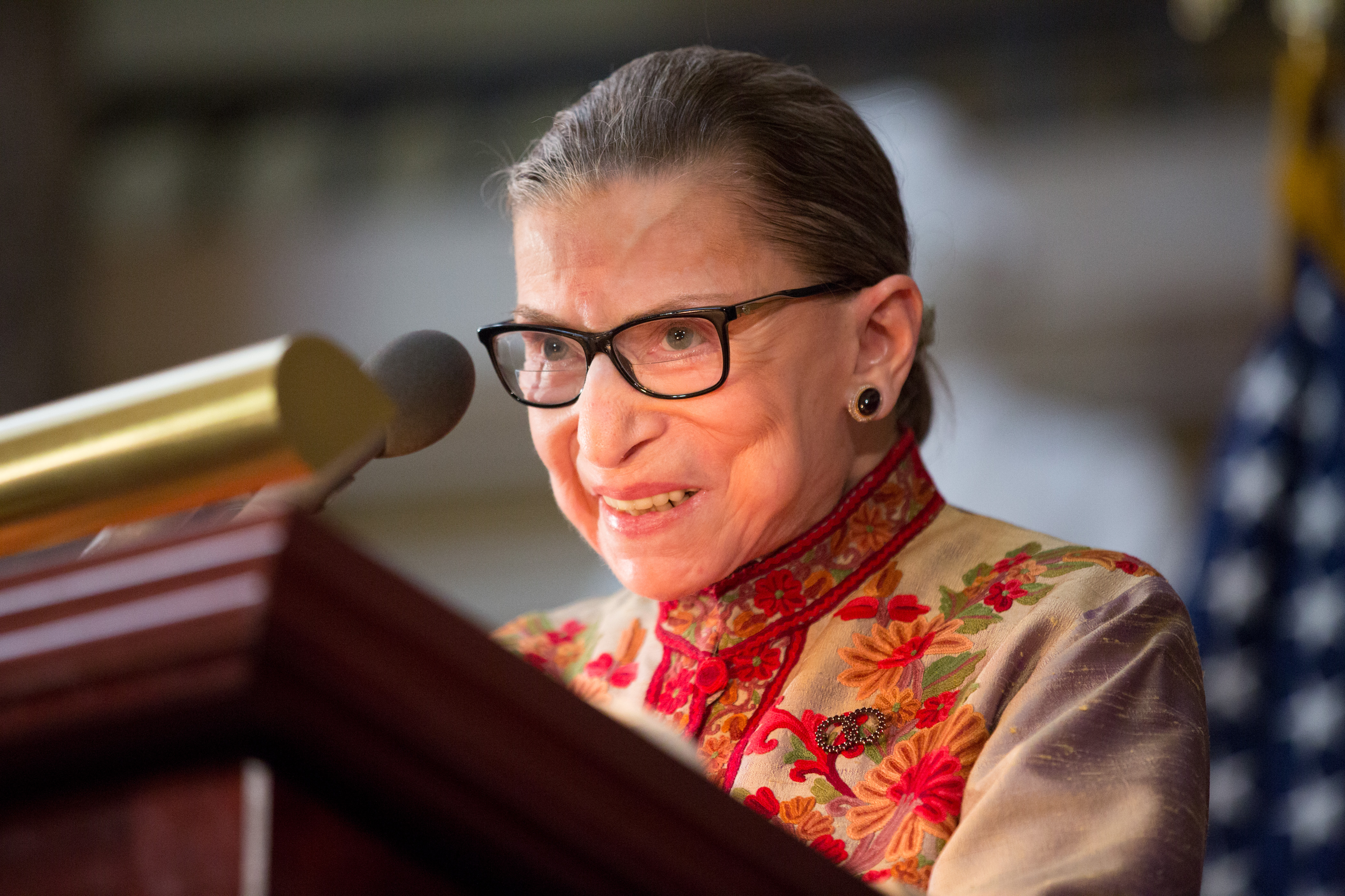 U.S. Supreme Court Justice Ruth Bader Ginsburg speaks at an annual Women's History Month reception hosted by Pelosi in the U.S. capitol building on Capitol Hill in Washington, D.C.