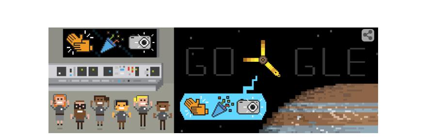Google Doodle marking spacecraft Juno's entry into Jupiter's orbit.