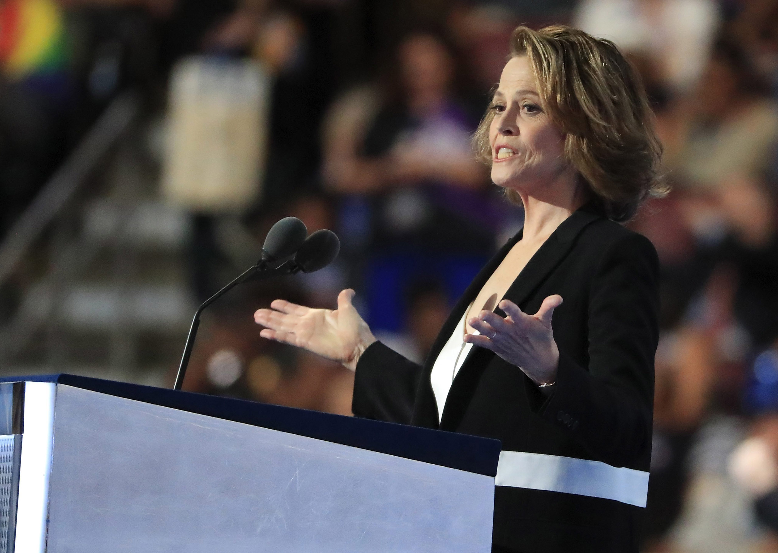 Sigourney Weaver speaks on the third day of the Democratic National Convention at the Wells Fargo Center in Philadelphia on July 27, 2016.
