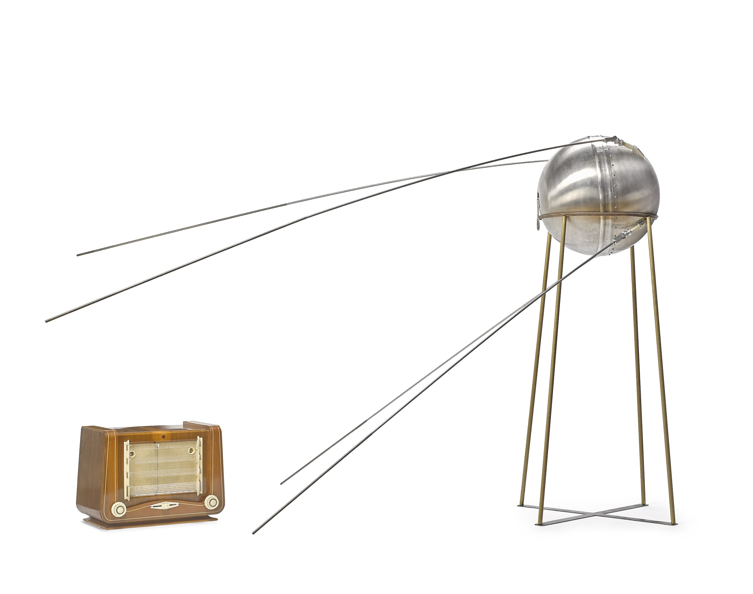 A rare vintage test model of the Sputnik-1 satellite, with a still operational live transmitter (just provide your own 12v battery!).                                                              New York auction house, Bonhams, is offering up a number of rare space artifacts from Apollo 11 and Soyuz missions on the anniversary of the moon landing, 47 years ago on July 20th, 1969. Items up for auction include astronaut training equipment, spacesuits, original documents signed by Buzz Aldrin, full size models of satellites, navigation aids used in space, and photographic prints of fascinating moments in space exploration history.