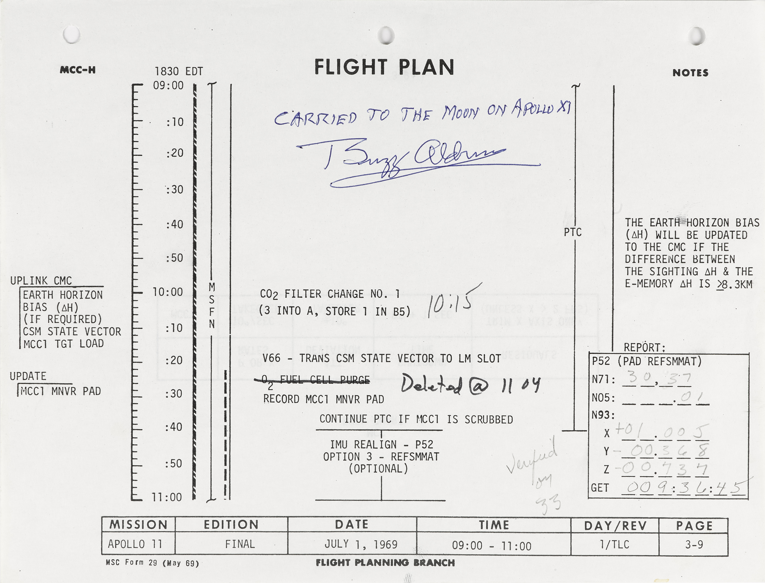 Apollo 11 flight plan sheet from the crew's first day in space, signed by Buzz Aldrin.