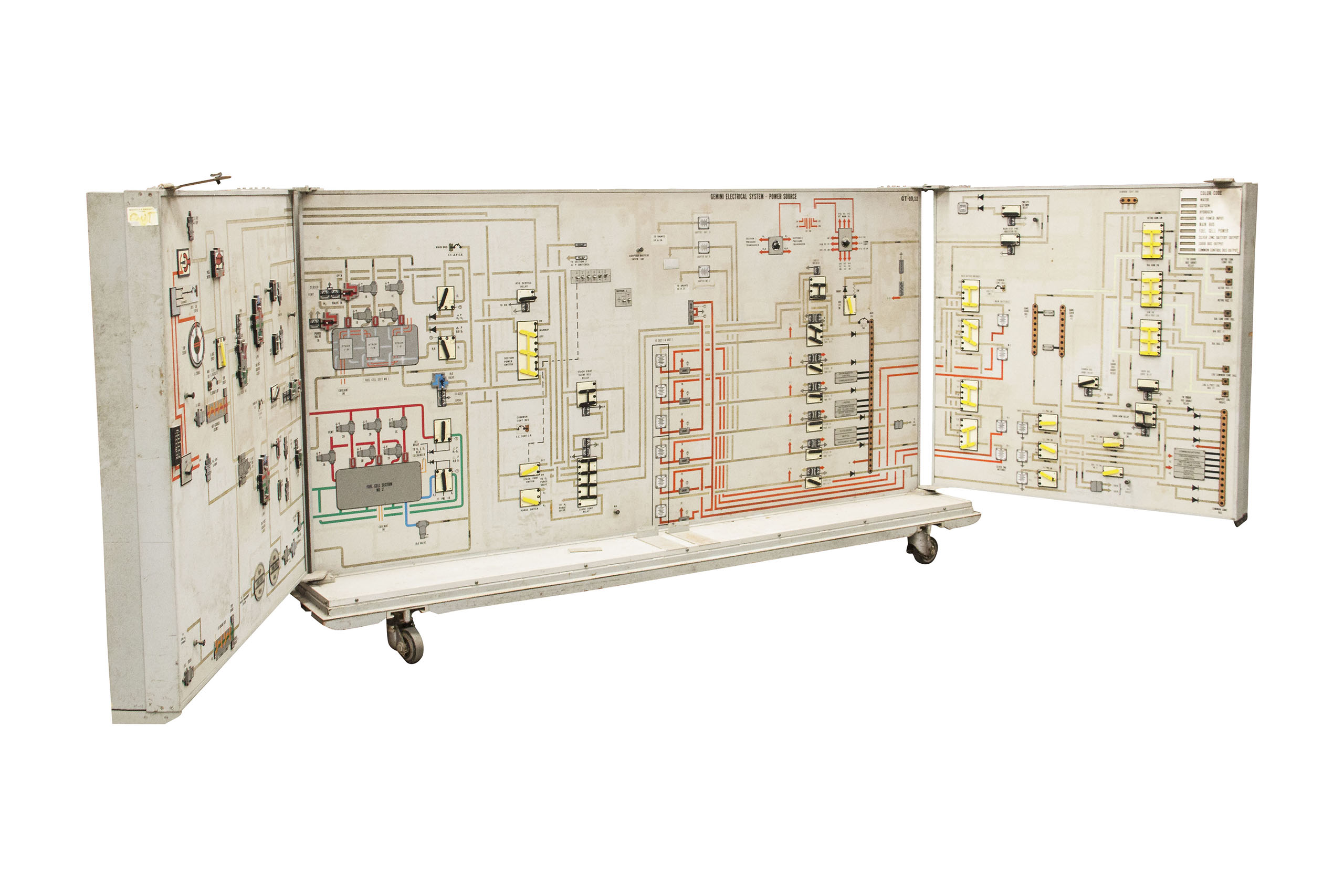 The Gemini 133P trainer assembly was used to train the Gemini astronauts at the Manned Spacecraft Center in Houston. Essentially a duplicate of the display panels and instruments found inside the Gemini spacecraft, the system was used to learn the Attitude control and Maneuver Electronics System (ACME), the Orbit Attitude Maneuvering System (OAMS), and the Landing & Post Landing Procedures, amongst many other skills.