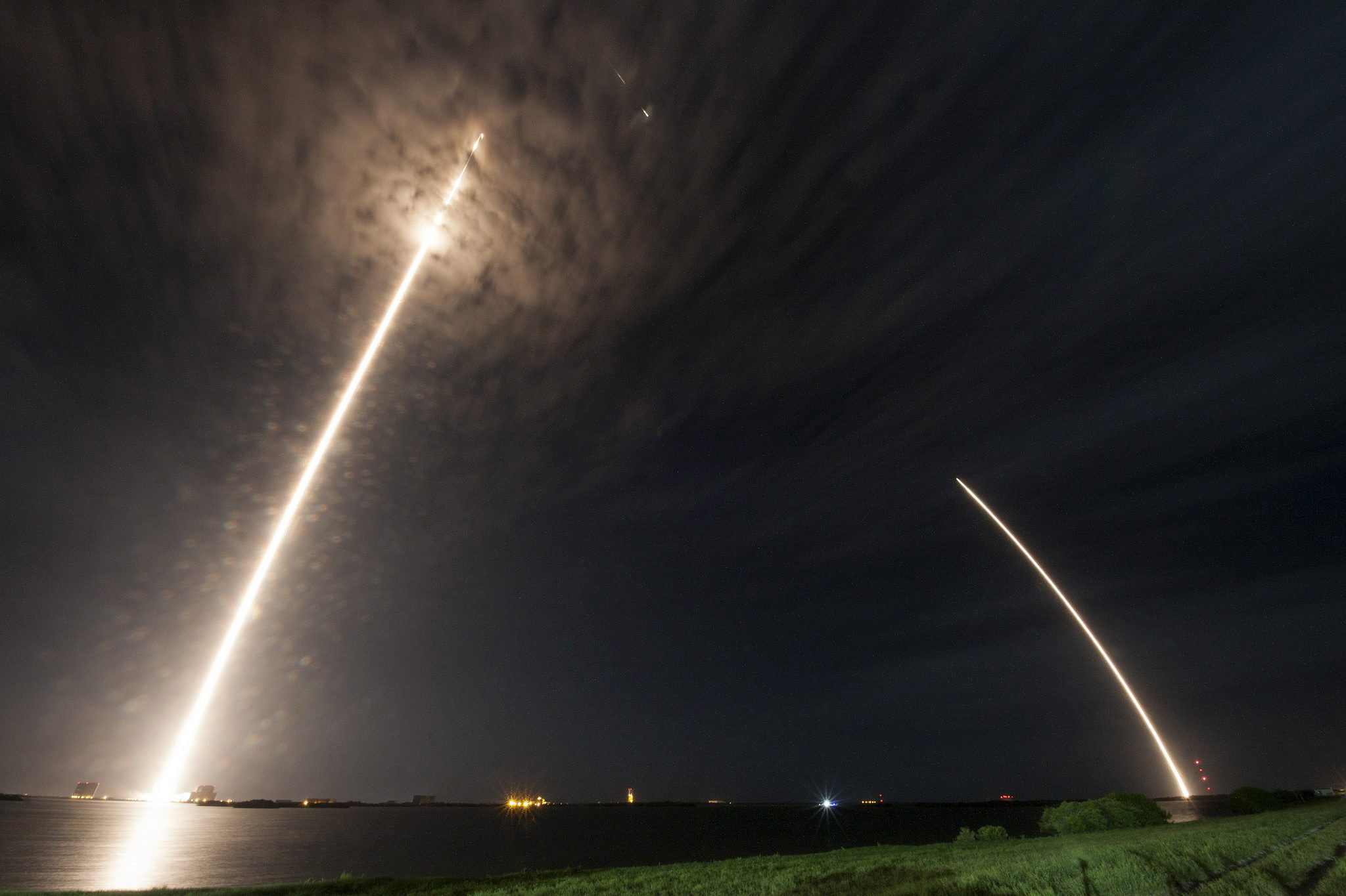 The liftoff of the SpaceX Falcon 9 rocket and Dragon spacecraft from NASA's Kennedy Space Center in Cape Canaveral, Fla., July 18 2016.