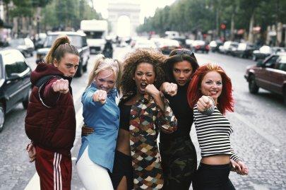 From left: Melanie Chisholm, Emma Bunton, Melanie Brown, Victoria Beckham, and Geri Halliwell in Paris on Sept. 1, 1996.