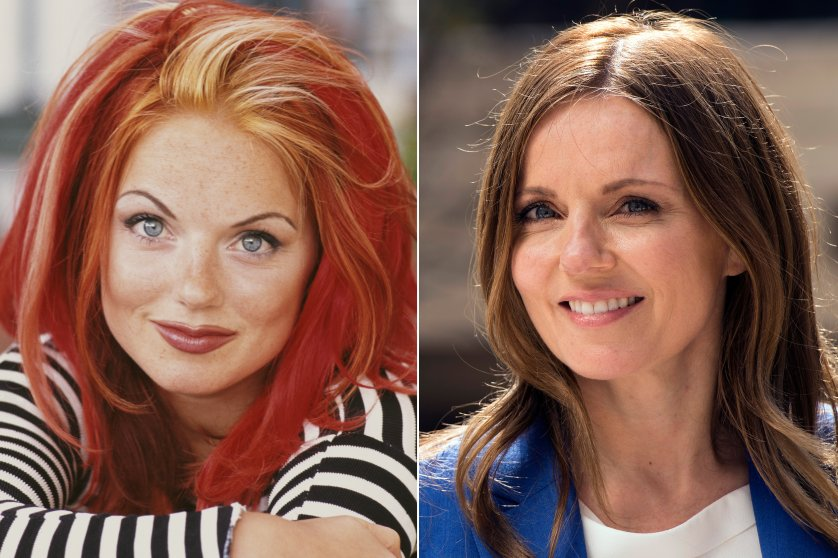 Geri Halliwell, aka Ginger Spice, in 1996 and 2016.