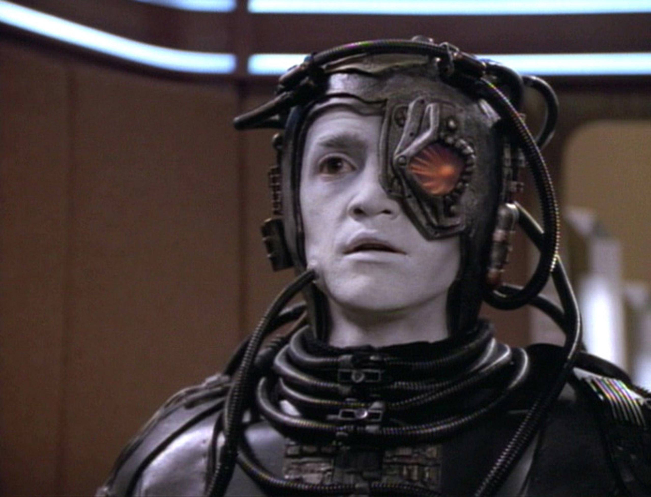 Jonathan Del Arco as Borg, Third of Five, in Star Trek: The Next Generation, May 11, 1992.