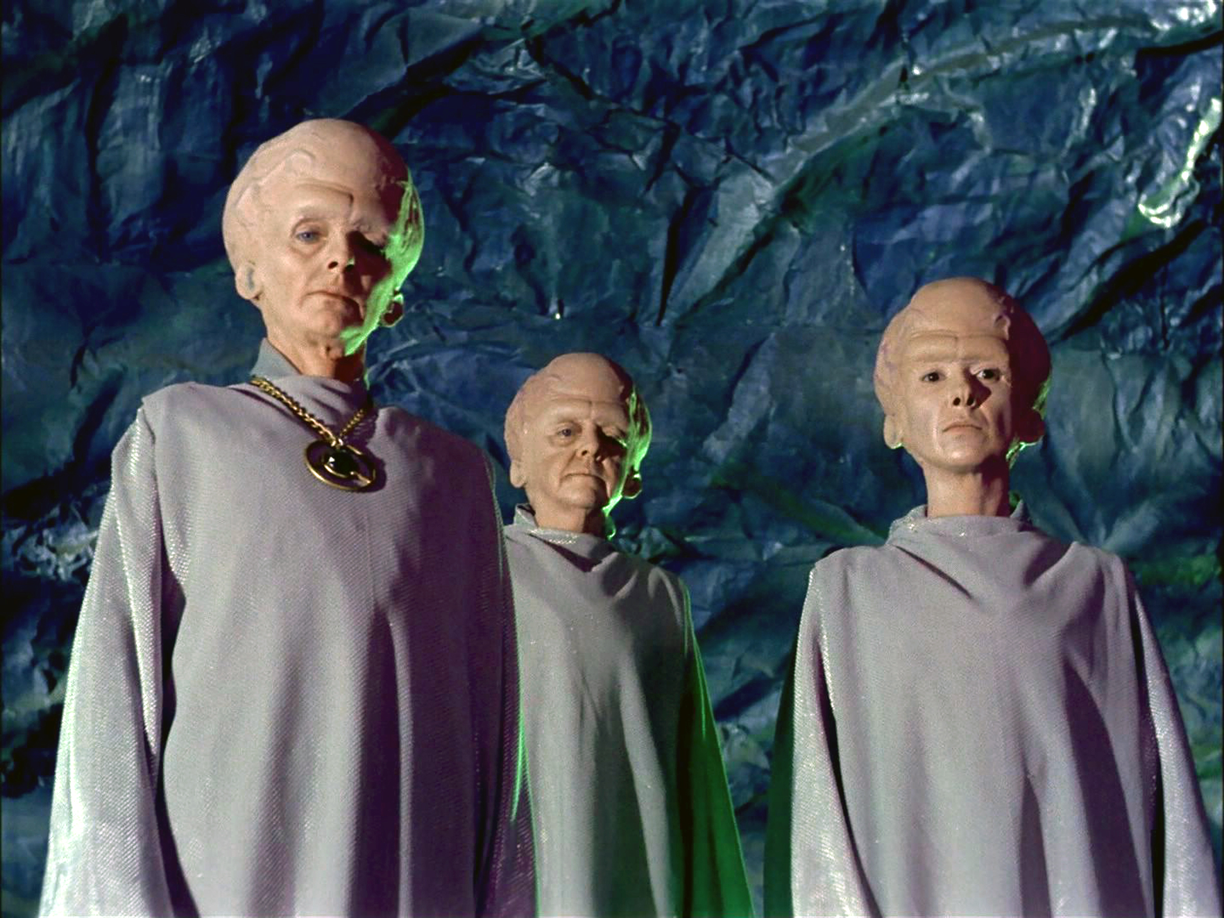 Meg Wyllie as The Keeper, Georgia Schmidt as First Talosian and Serena Sande as Second Talosian in the Star Trek: The Original Series, broadcast Oct. 4, 1988.