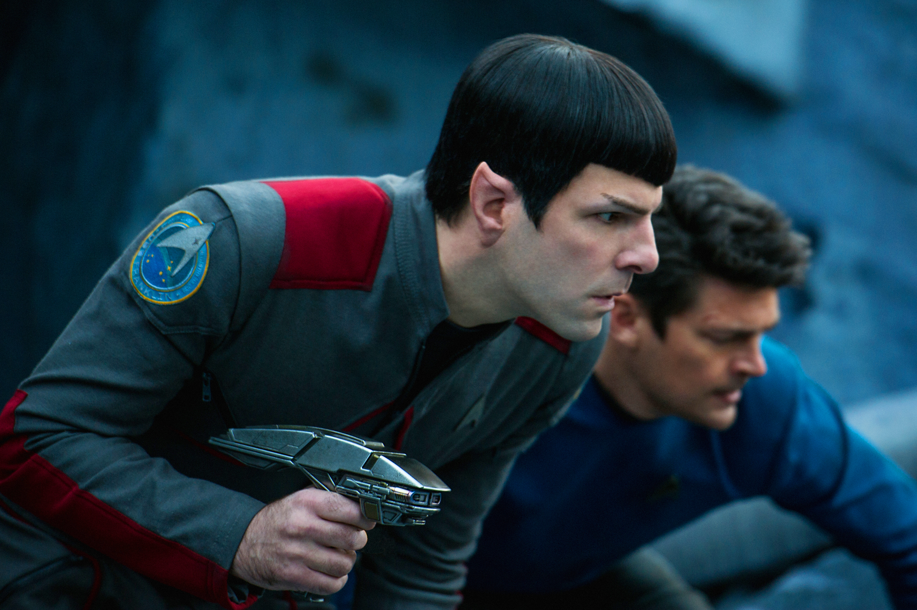 Zachary Quinto, left, and Karl Urban appear in a scene from  Star Trek Beyond.