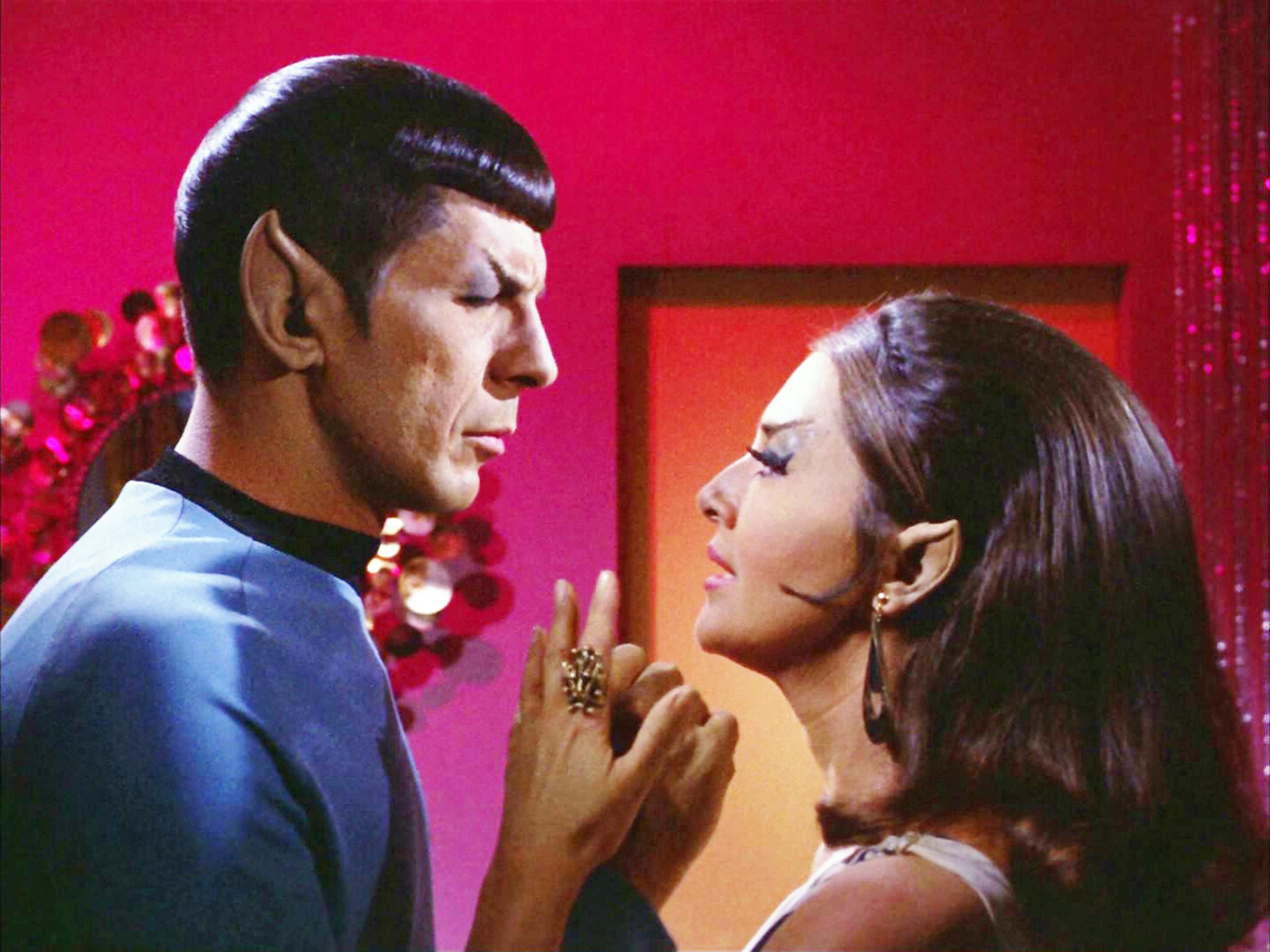 Leonard Nimoy as Mr. Spock and Joanne Linville as Romulan Commander in the Star Trek: The Original Series, Sept. 27, 1968.