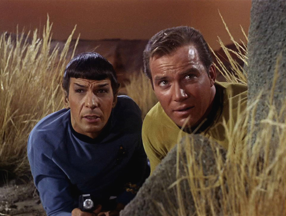 Star Trek the Original Series Season 1 Episode 1   The Man Trap   Pictured: William Shatner as Captain James T. Kirk and Leonard Nimoy as Mr. Spock