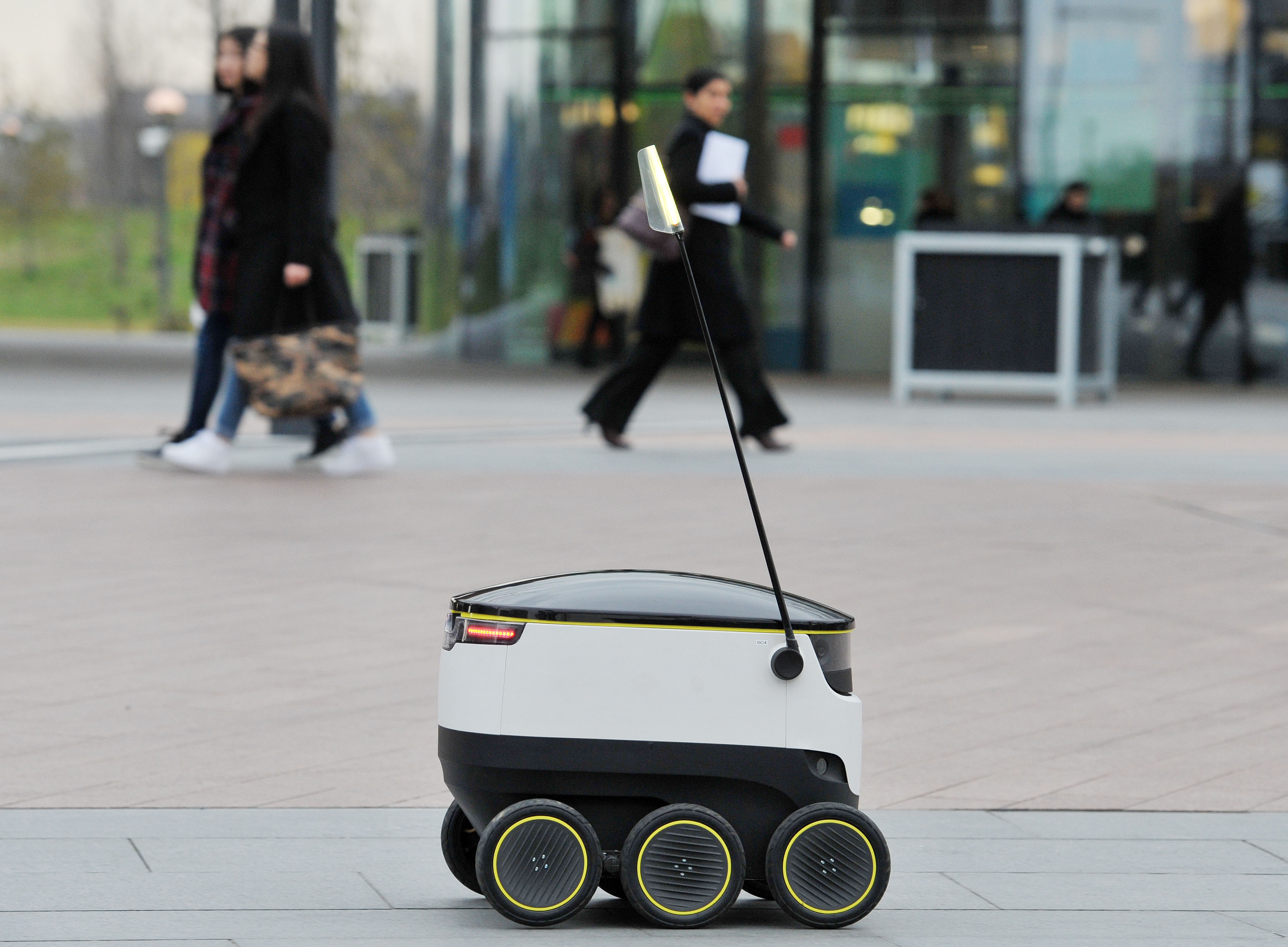 Starship Technologies self-driving delivery robot. A Starship Technologies' self-driving delivery robot during the launch of its UK trials, at their office on the Greenwich Peninsula, south London on March 10, 2016.