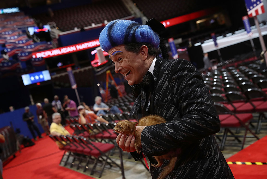 Comedian Stephen Colbert tapes a segment on the floor of the Republican National Convention for CBS's  The Late Show with Stephen Colbert  at the Quicken Loans Arena in Cleveland on July 17, 2016.