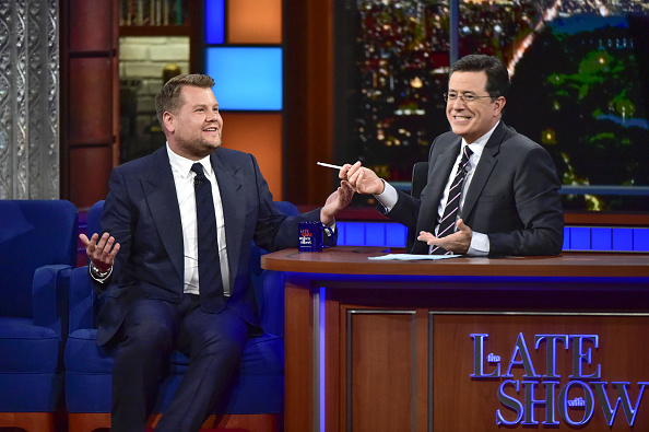 The Late Show with Stephen Colbert: Stephen Colbert talks with guest James Corden, who will host the 2016 Tony Awards on Sunday June 12.