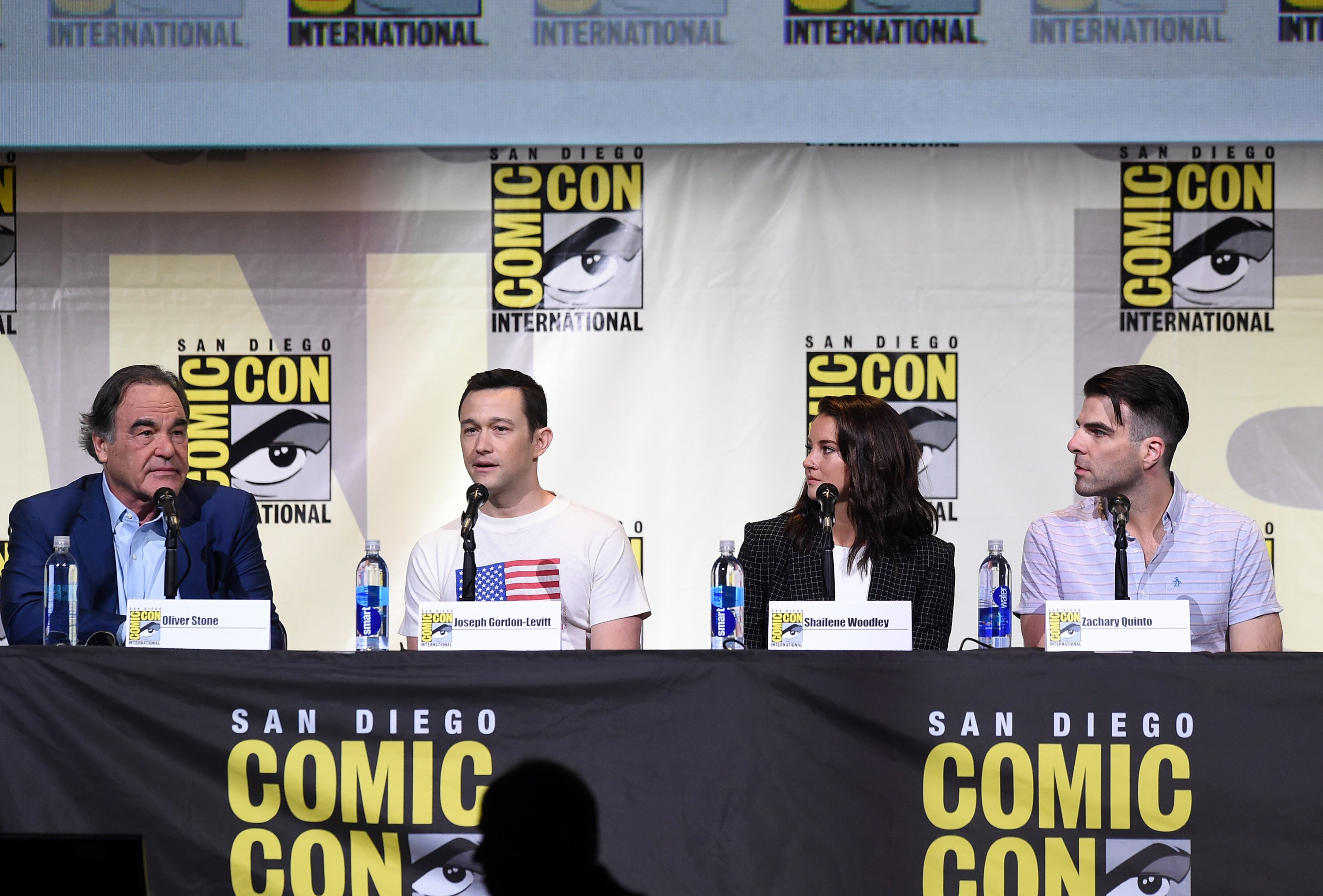 Oliver Stone, Joseph Gordon-Levitt, Shailene Woodley and Zachary Quinto attend the  Snowden  panel during  Comic-Con International 2016 at San Diego Convention Center, on July 21, 2016.