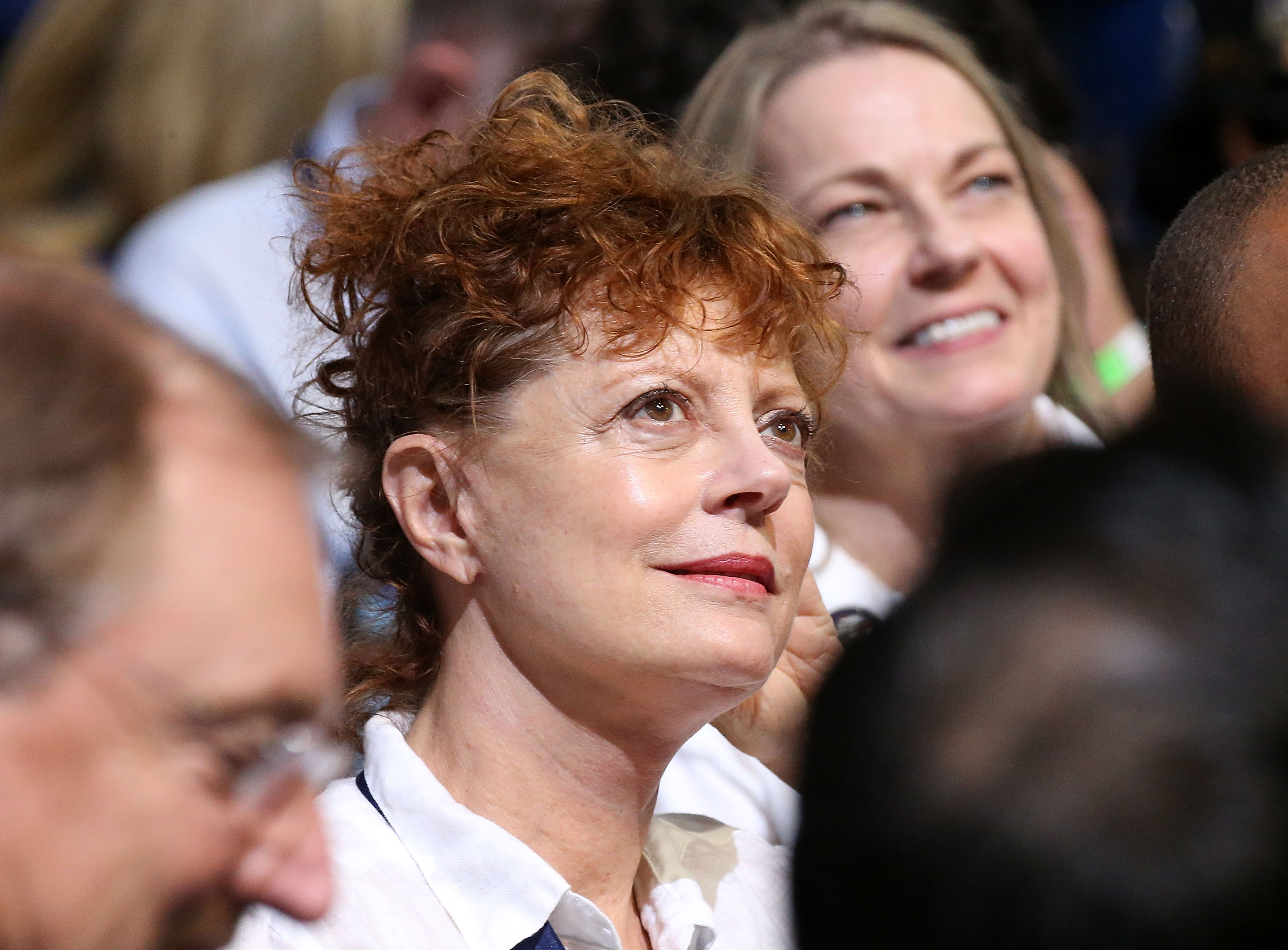 PHILADELPHIA, PA - JULY 25:  Actress Susan Sarandon sits in the crowd on the first day of the Democratic National Convention at the Wells Fargo Center, July 25, 2016 in Philadelphia, Pennsylvania.  An estimated 50,000 people are expected in Philadelphia, including hundreds of protesters and members of the media. The four-day Democratic National Convention kicked off July 25.  (Photo by Paul Morigi/WireImage)