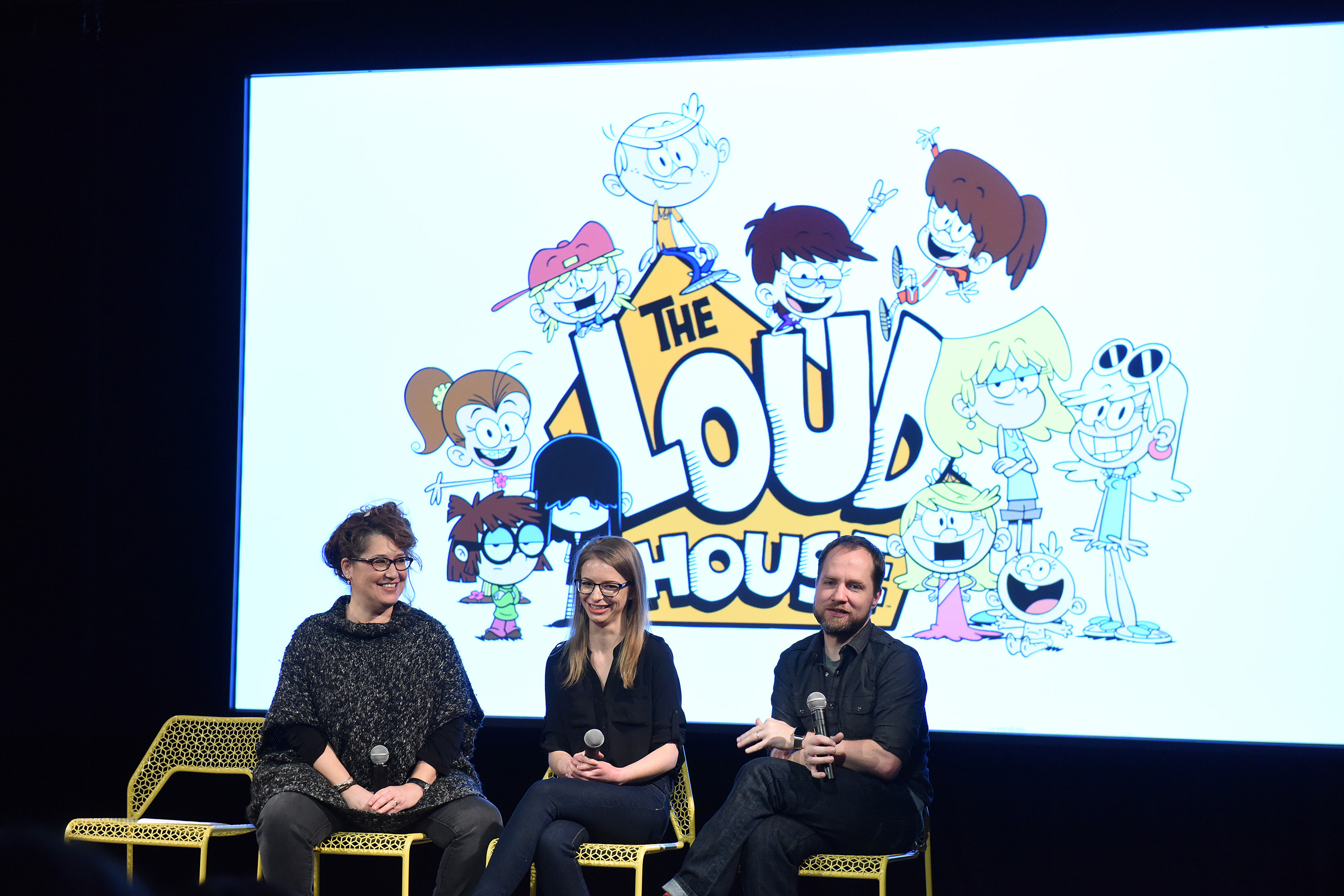 Producer Karen Malach, writer Karla Sakas Shropshire and executive producer Chris Savino speak during  The Loud House  event presented by Nickelodeon during Day Two of aTVfest 2016 presented by SCAD in Atlanta, Georgia, on Feb. 5, 2016.