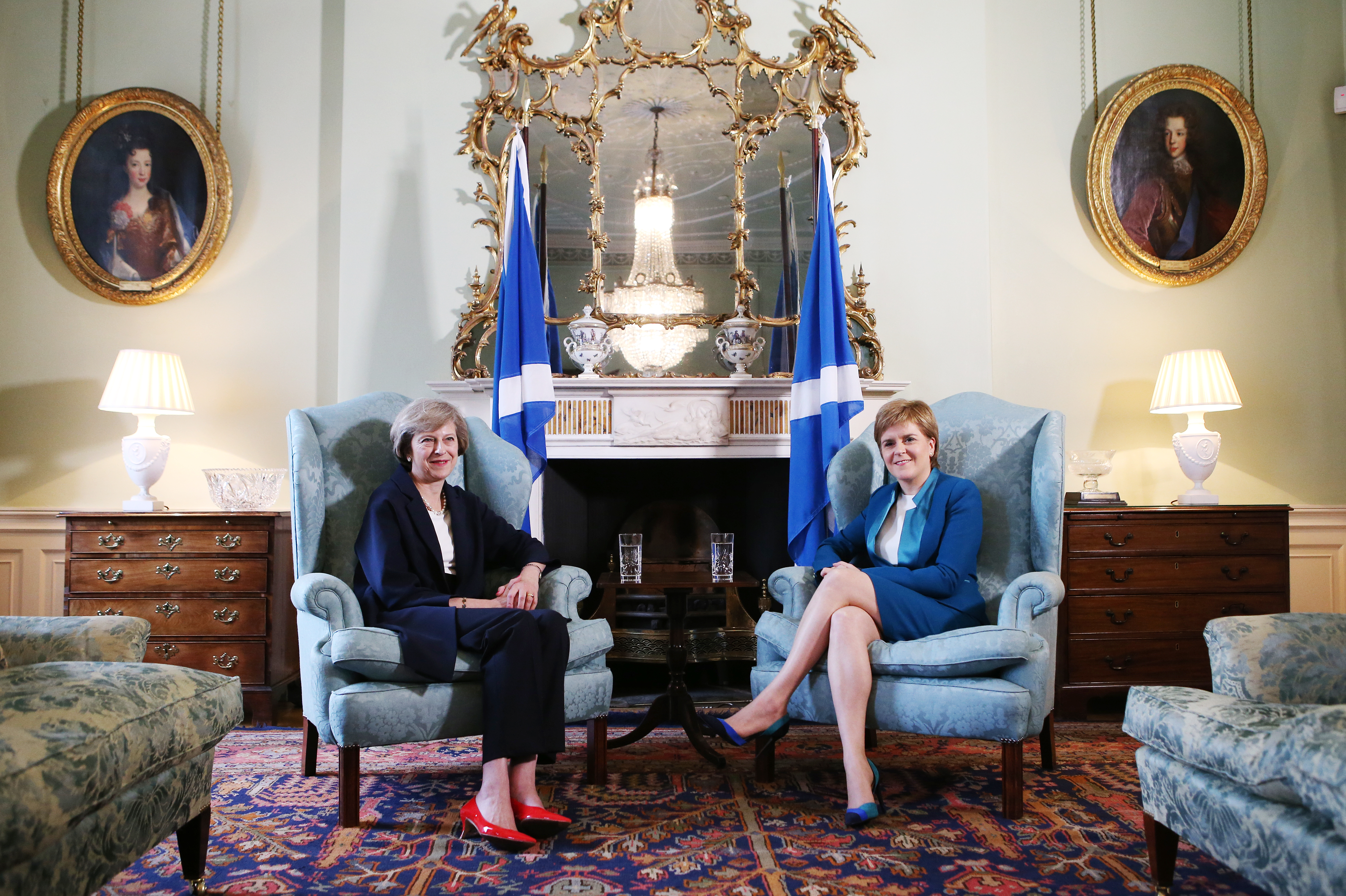 British Prime Minister Theresa May (L) meets with First Minister Nicola Sturgeon at Bute House on July 15, 2016 in Edinburgh, Scotland.