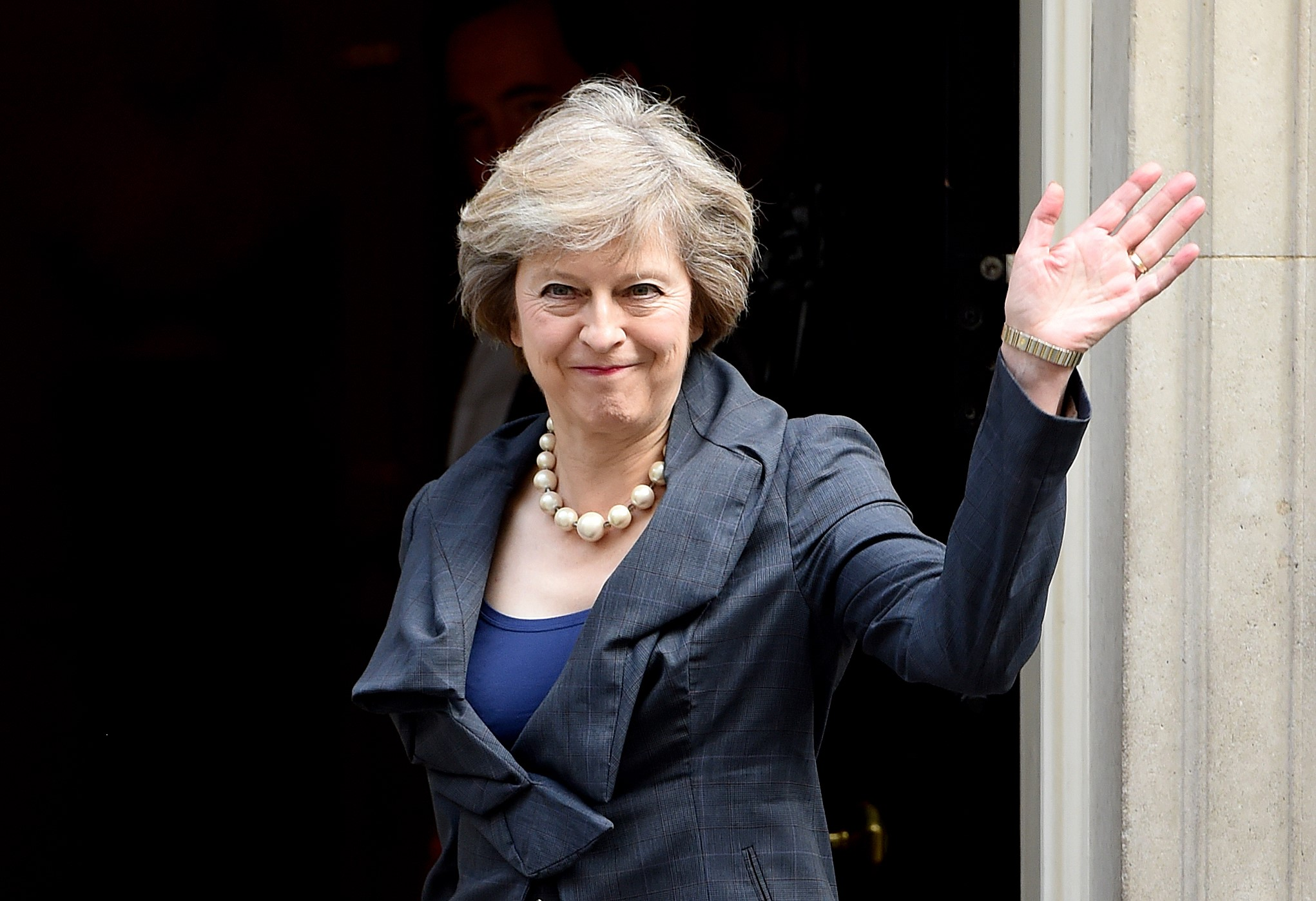 Theresa May arrives for David Cameron's final cabinet meeting before she takes over and appoints a new office, in London, on July 12, 2016.
