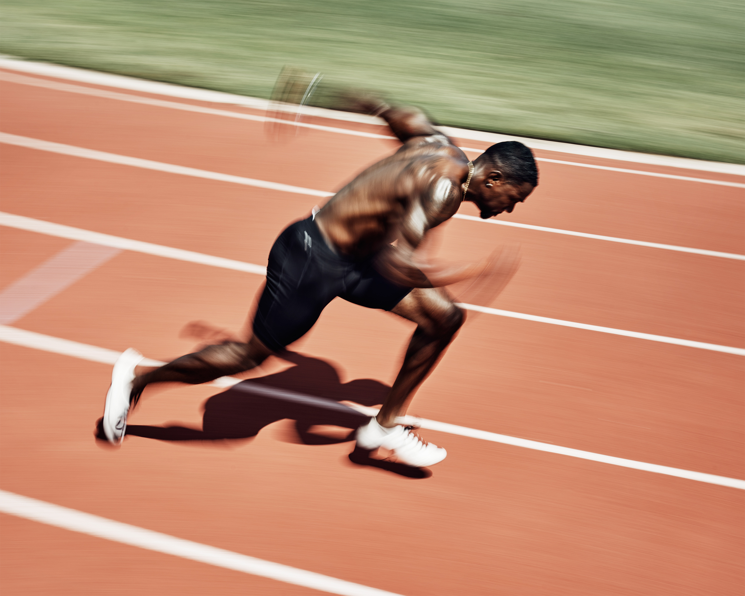 Gold Medalist sprinter Justin Gatlin practices at Montverde Academy in Montverde, FL on Friday, July 22, 2016. Gatlin races Usain Bolt in the 100 meter on August 14.