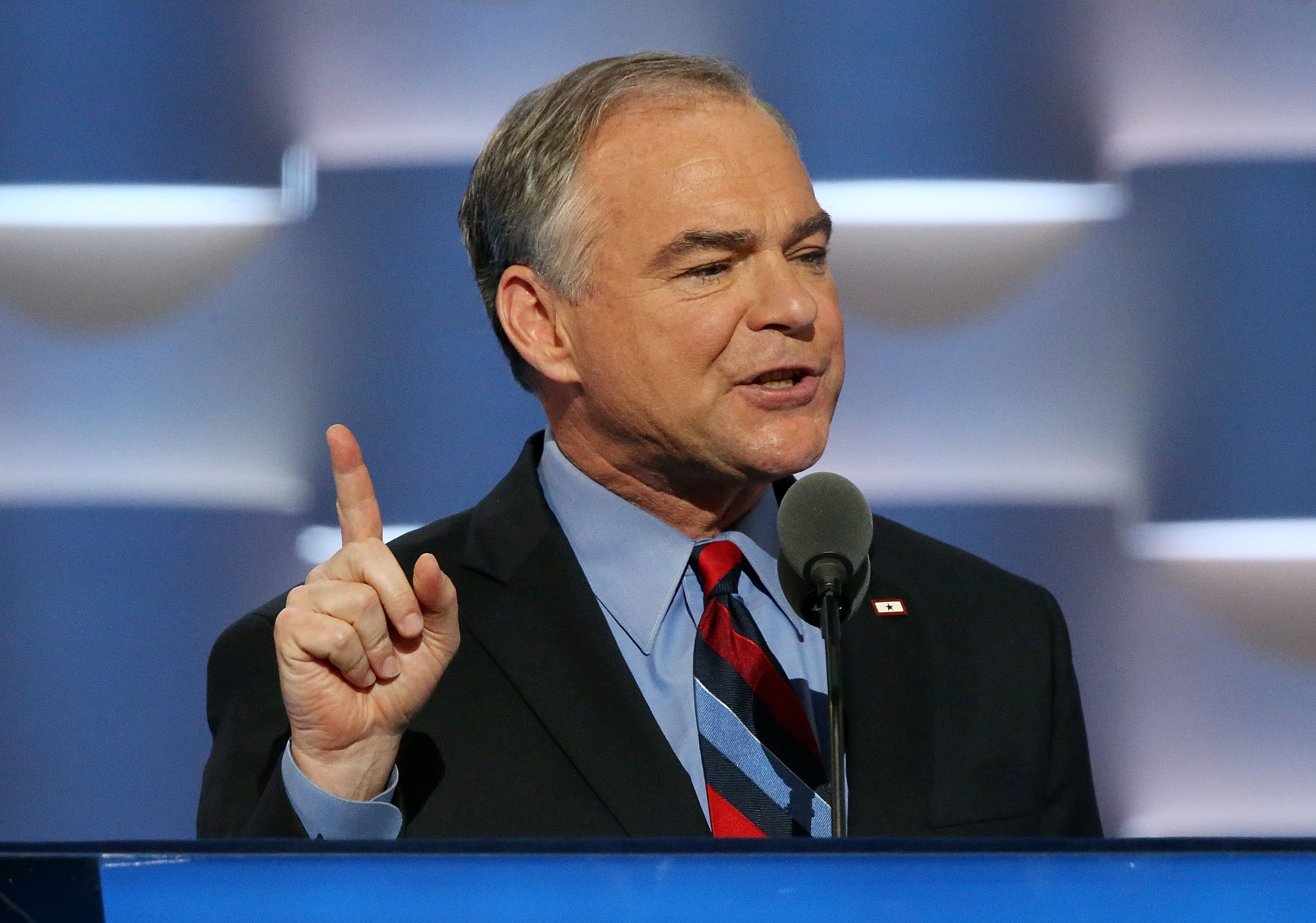 U.S. Vice President nominee Tim Kaine delivers remarks on the third day of the Democratic National Convention at the Wells Fargo Center on July 27, 2016 in Philadelphia, Pennsylvania.