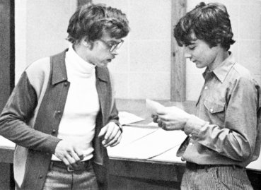 Tim Kaine, right, during his junior year at Rockhurst High School in Kansas, Mo. in 1975.