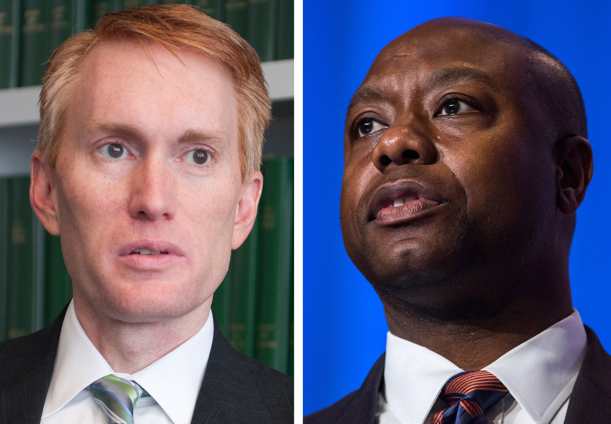 Senators James Lankford, left, and Tim Scott.