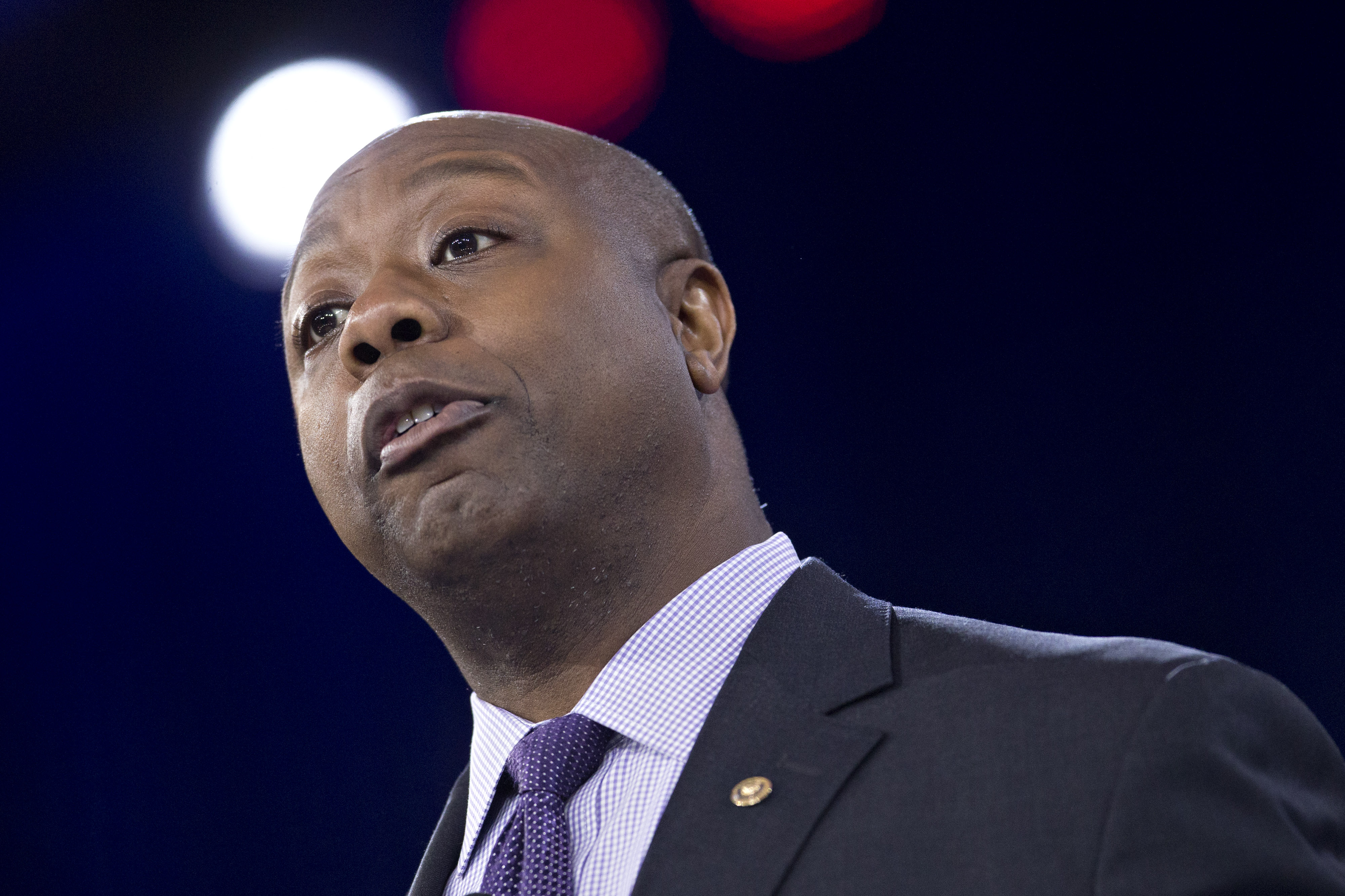 Senator Tim Scott, a Republican from South Carolina, speaks during the Conservative Political Action Conference (CPAC) meeting in National Harbor, Maryland on March 3, 2016.