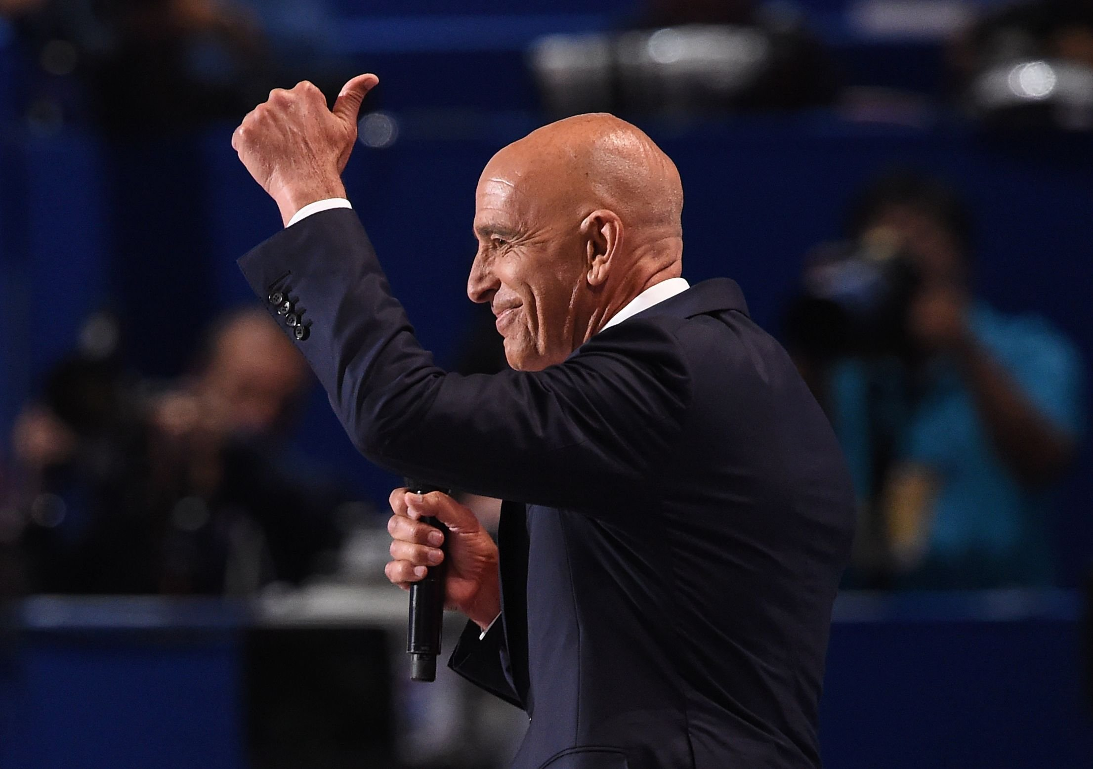 Tom Barrack, CEO of Colony Capital, addresses the final night of the Republican National Convention at Quicken Loans Arena in Cleveland on July 21, 2016.