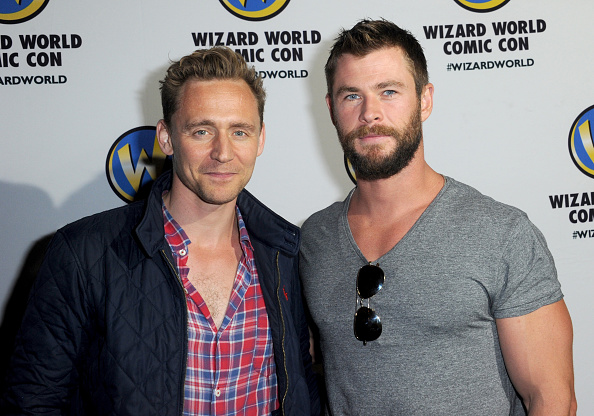Actors Tom Hiddleston and Chris Hemsworth of 'Thor' on day 3 of Wizard World Comic Con Philadelphia 2016 held at Pennsylvania Convention Center on June 4, 2016 in Philadelphia, Pennsylvania.