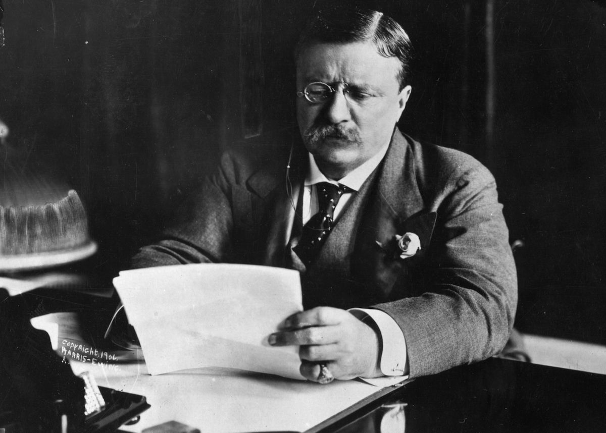 circa 1905:  Theodore Roosevelt (1858 - 1919)  sitting at his desk working.
