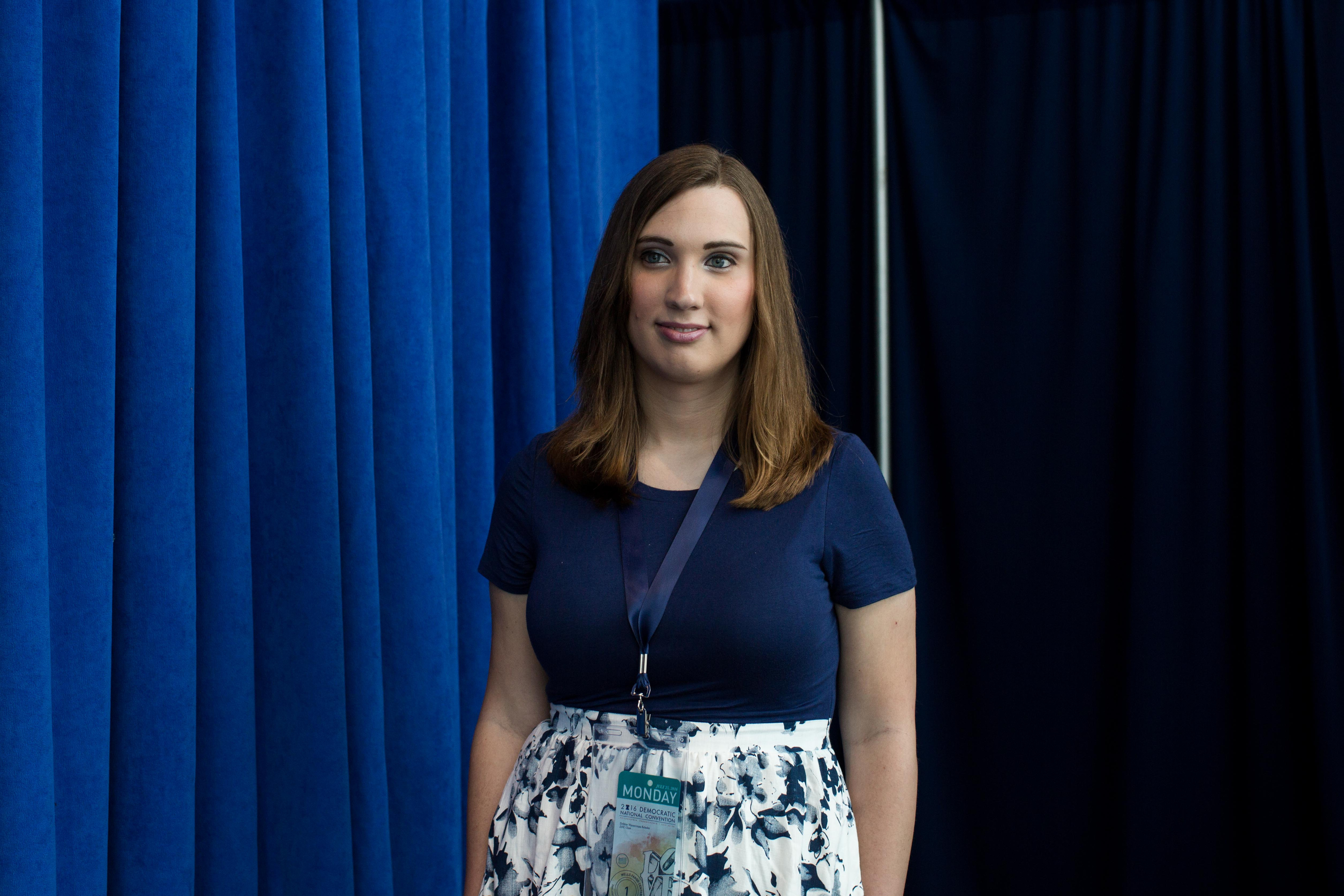 Sarah McBride posed for a portrait at the Wells Fargo Center where she is attending Democratic National Convention on July 25, 2016 in Philadelphia.