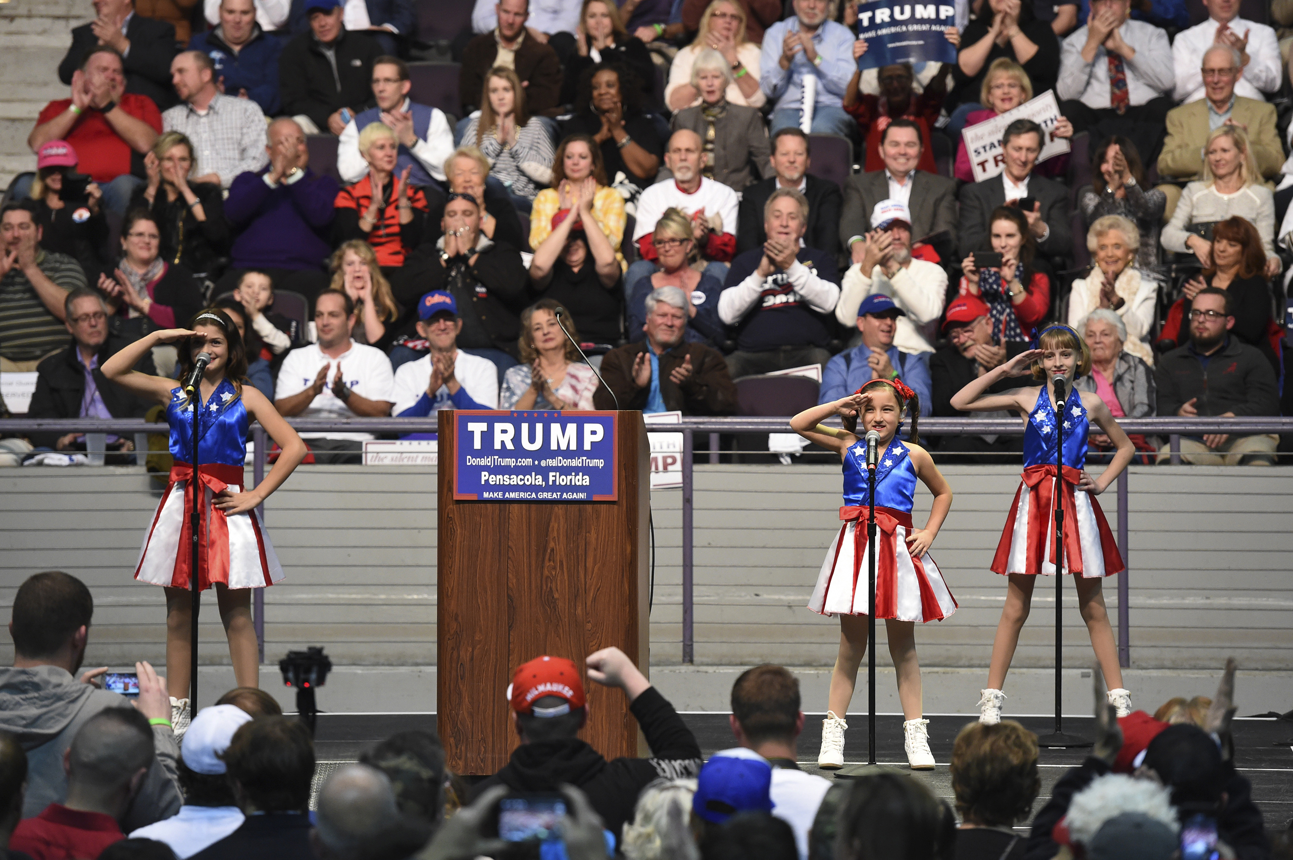 The  USA Freedom Kids  from Pensacola perform  Freedom's Call   during Donald Trump's campaign rally in Pensacola, Fla., Jan. 13, 2016.