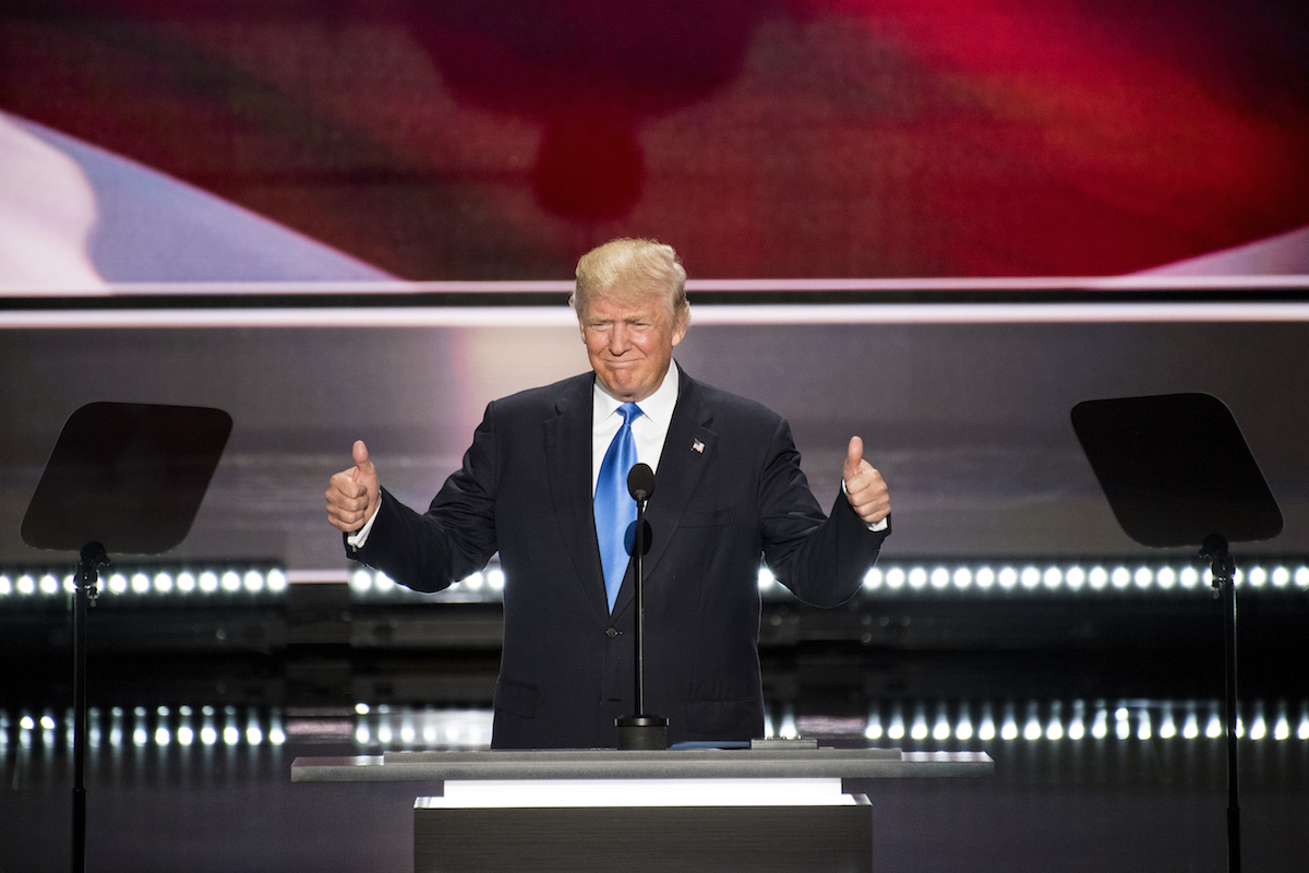 Republican presumptive nominee Donald Trump introduces his wife Melania Trump during the 2016 Republican National Convention in Cleveland on July 18, 2016.