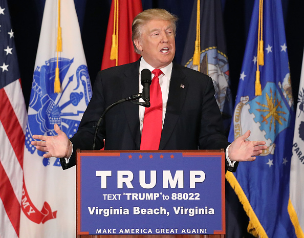 Presumptive Republican Presidential candidate Donald Trump delivers a speech on veteran's issues during a campaign stop July 11, 2016 in Virginia Beach, Virginia. With just a week before the Republican National Convention, Trump has yet to announce a running mate.