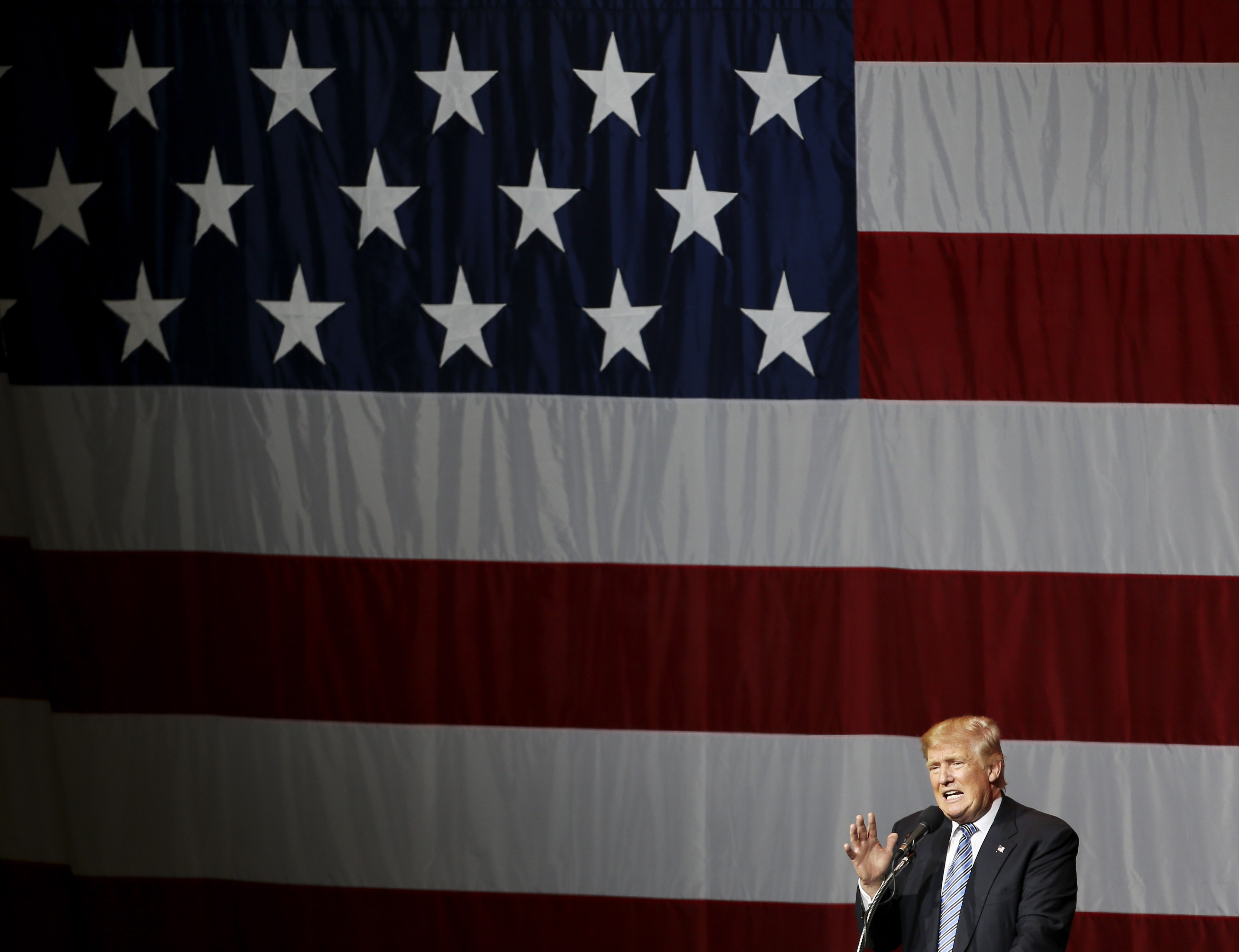 Donald Trump addresses a campaign rally at Grant Park Event Center in Westfield, Indiana.