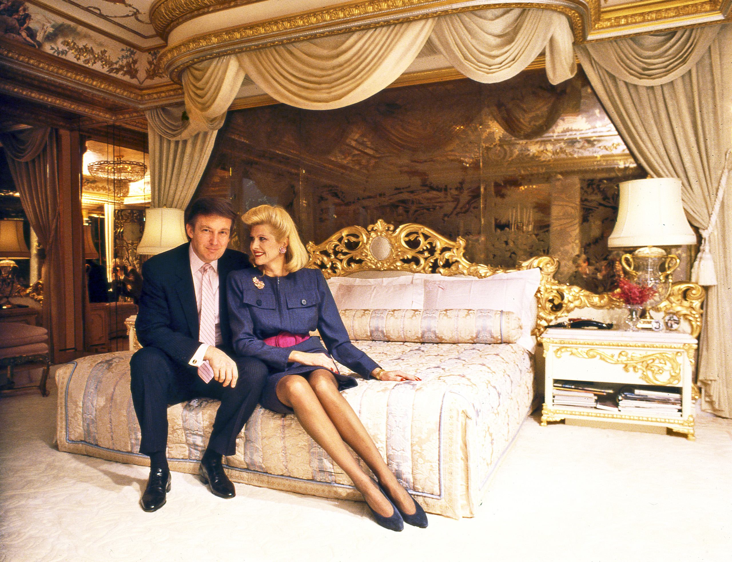 "<b>1987</b> Trump and his first wife, Ivana, in their bedroom at Trump Tower in New York City. Benson chose the location—""it tells you a lot about the people""—and wanted them to dance. ""She could dance,"" he joked, ""but he was a bit slow."""