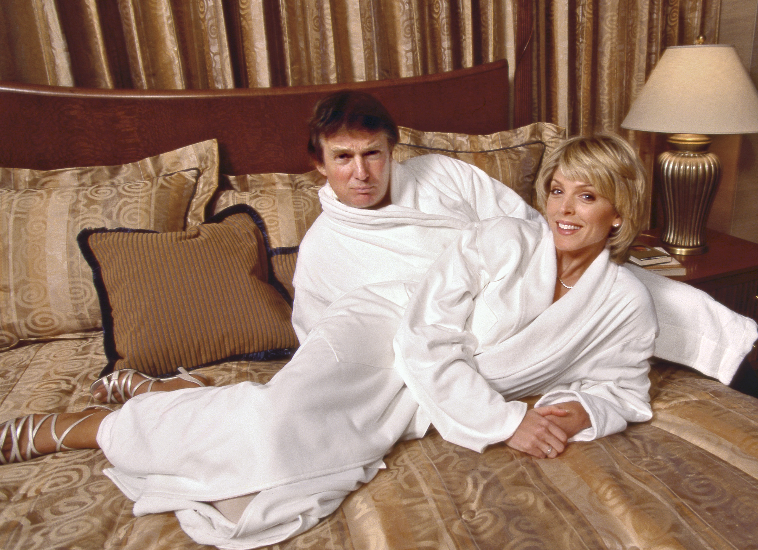 <b>1996</b> Trump and his second wife, Marla Maples, at Trump International Hotel &amp; Tower in New York City.