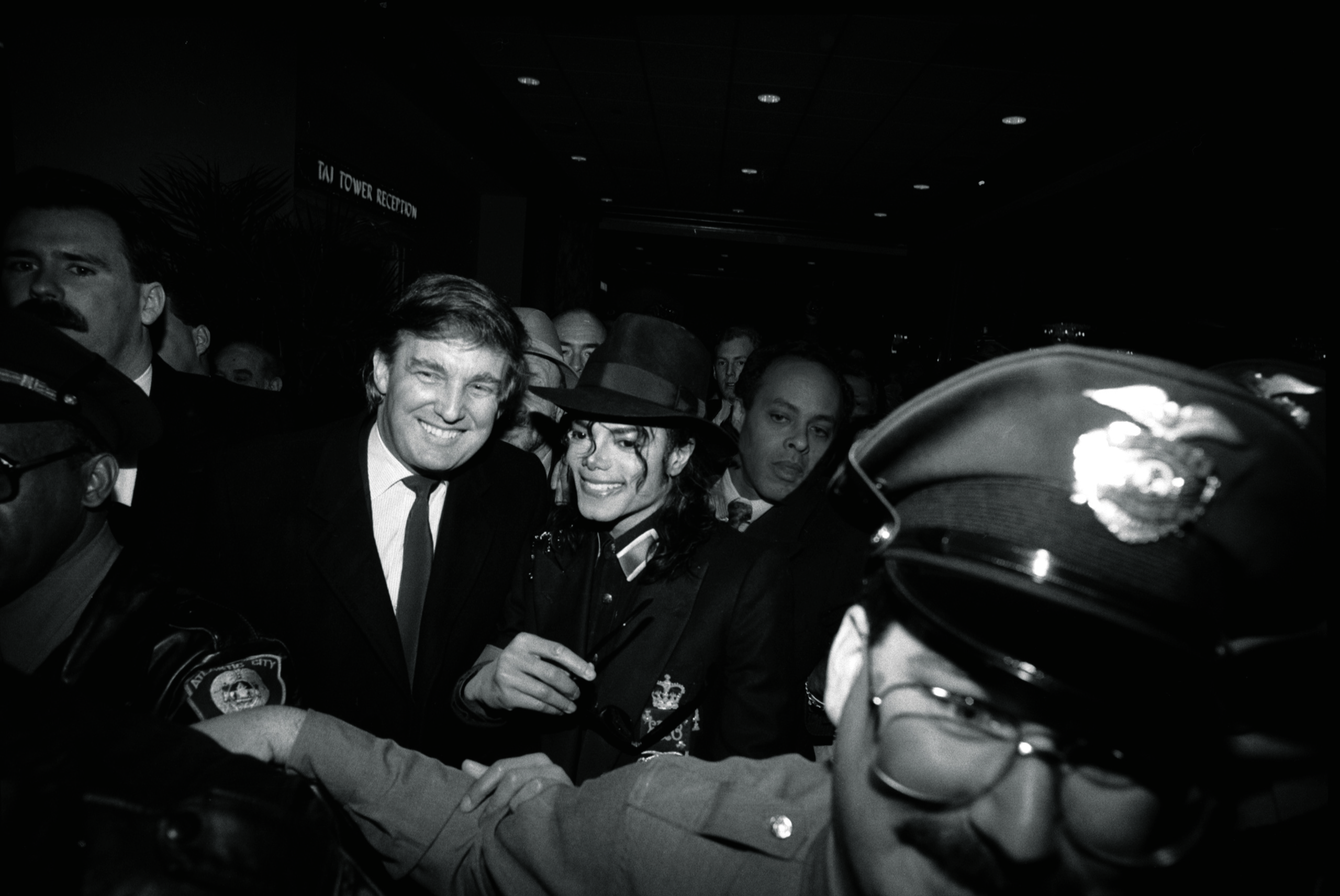 <b>1990</b> Trump and Michael Jackson, his guest, at the grand opening of the Trump Taj Mahal casino resort in Atlantic City.