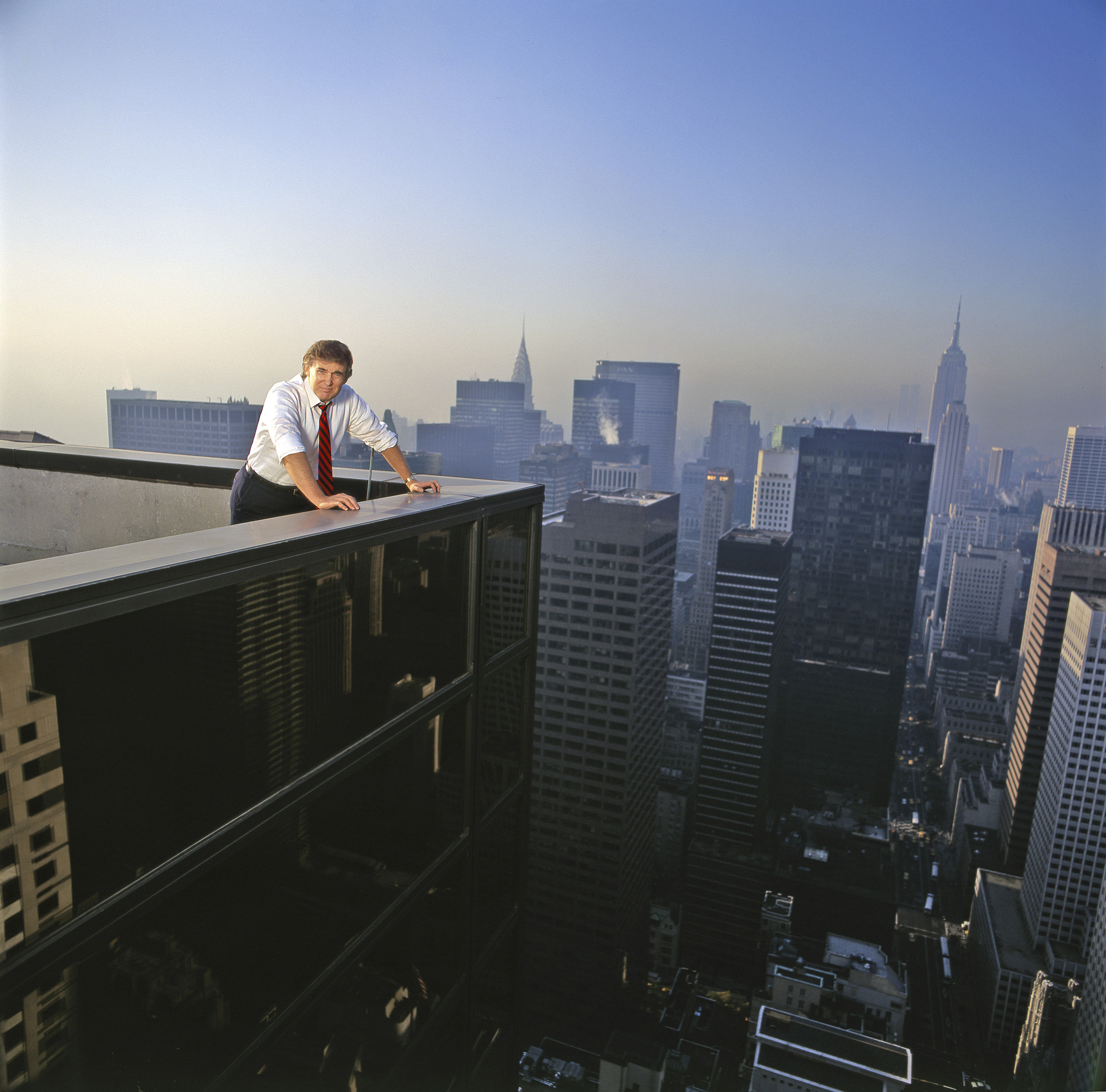 <b>1987</b> Trump stands on top of Trump Tower on Fifth Avenue in New York City.
