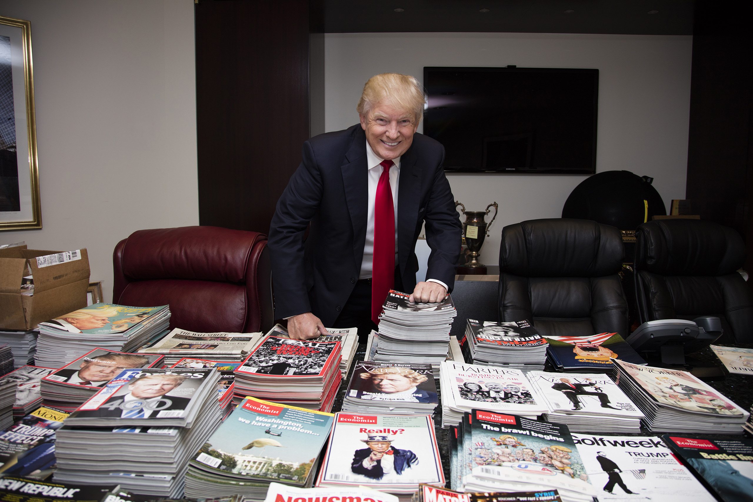 Donald Trump in a conference room, where he's storing his archive of press and memorabilia, on July 11, 2016.