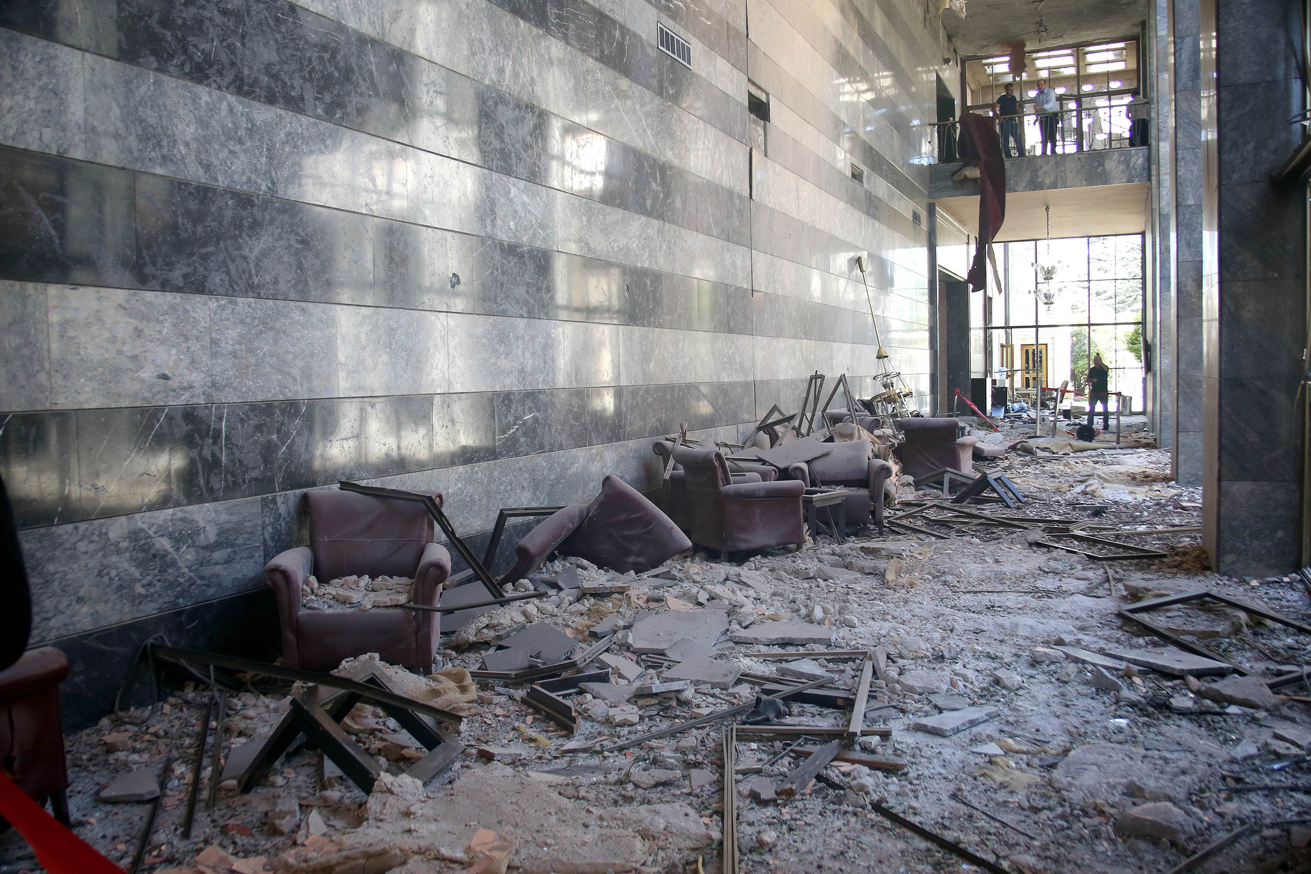 Damage inside the Grand National Assembly after an airstrike during the failed military coup attempt in Ankara, Turkey, on July 16, 2016.
