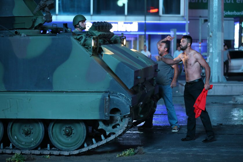 Two men react against a coup attempt from within the army in Ankara, Turkey, on July 16, 2016.