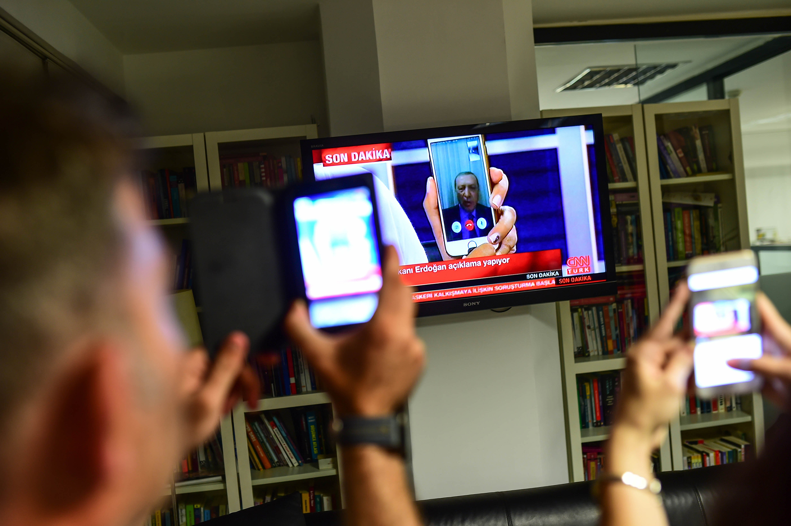 Turkish President Recep Tayyip Erdogan speaks on CNN Turk via FaceTime on July 15, 2016.