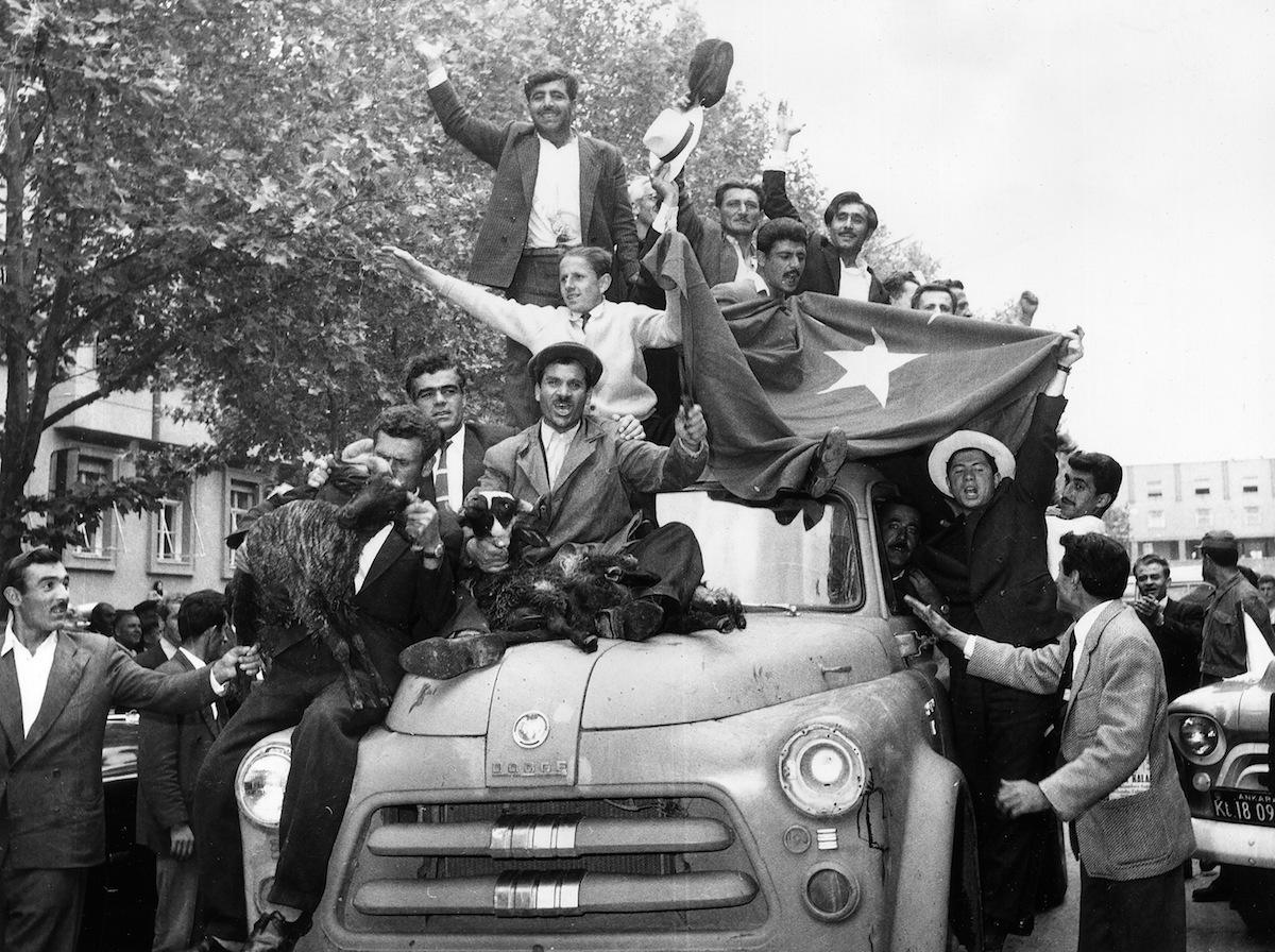 Demonstrators celebrate the new government of Turkey, on May 27, 1960.