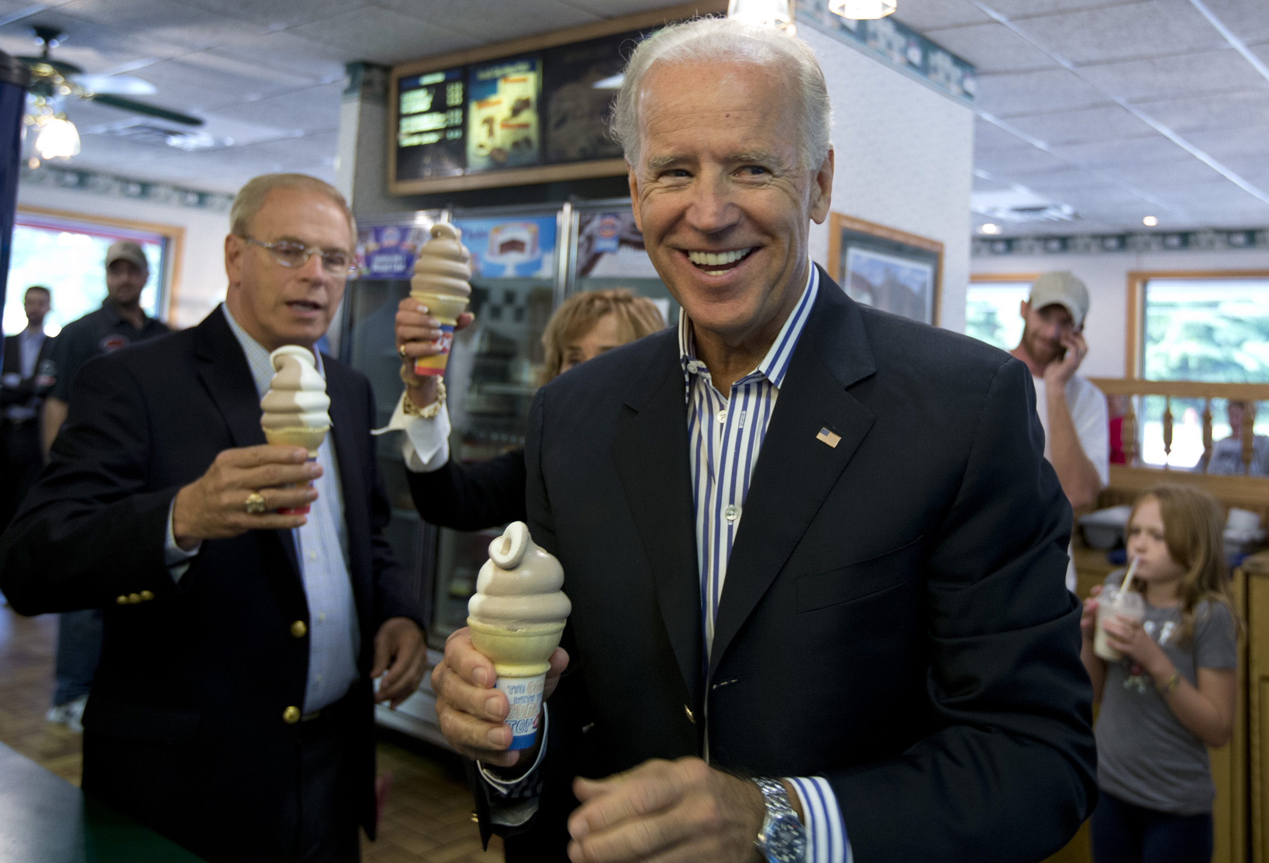Vice President Joe Biden stops for an ice cream cone at a Dairy Queen with former Ohio Gov. Ted Strickland in Nelsonville, Ohio on Sept. 8, 2012.