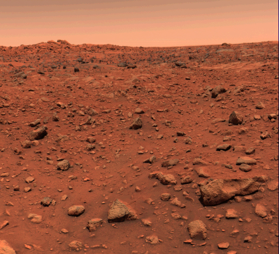 The first color picture of Mars, taken the day after Viking 1 landed on the surface of Mars, July 21, 1976.