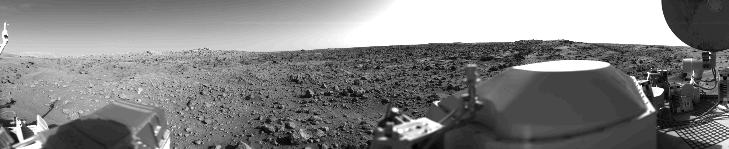 The first panoramic view of Mars, taken minutes after Viking 1 landed on the surface of Mars, July 20, 1976.