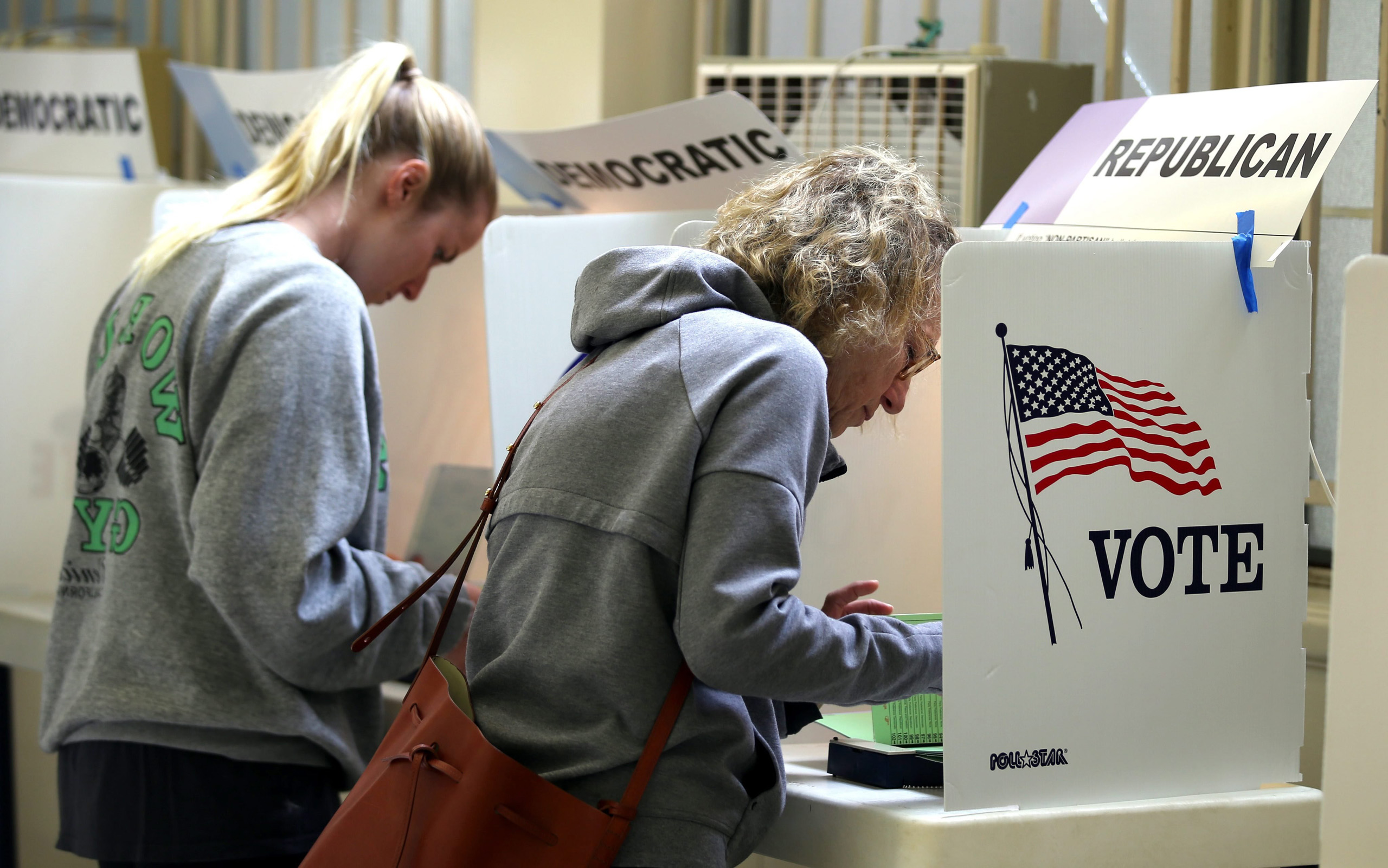 Voters cast their ballots at the Lutheran Church in Pacific Palisades, Calif. on June 07, 2016.
